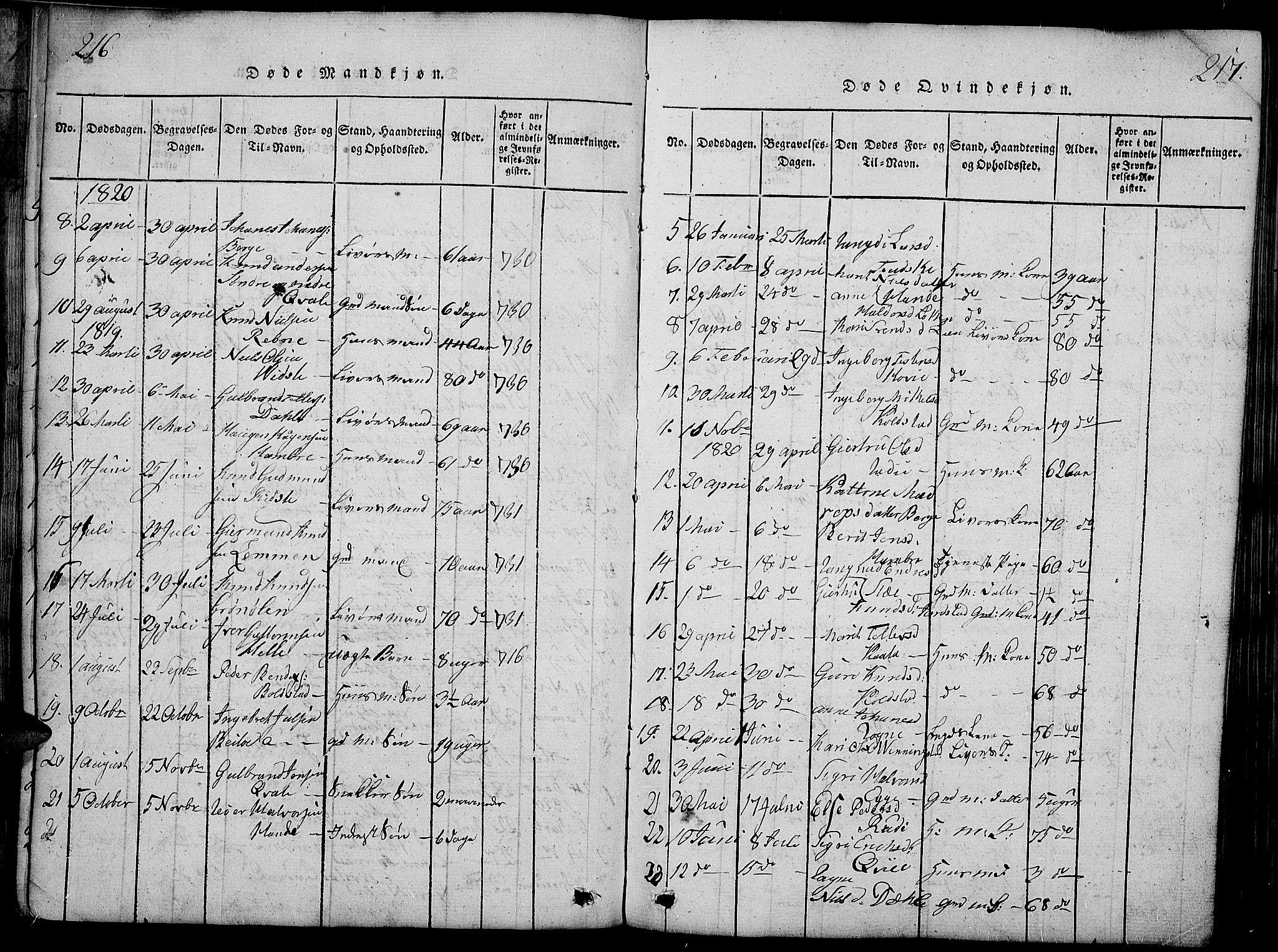 SAH, Slidre prestekontor, Ministerialbok nr. 2, 1814-1830, s. 216-217