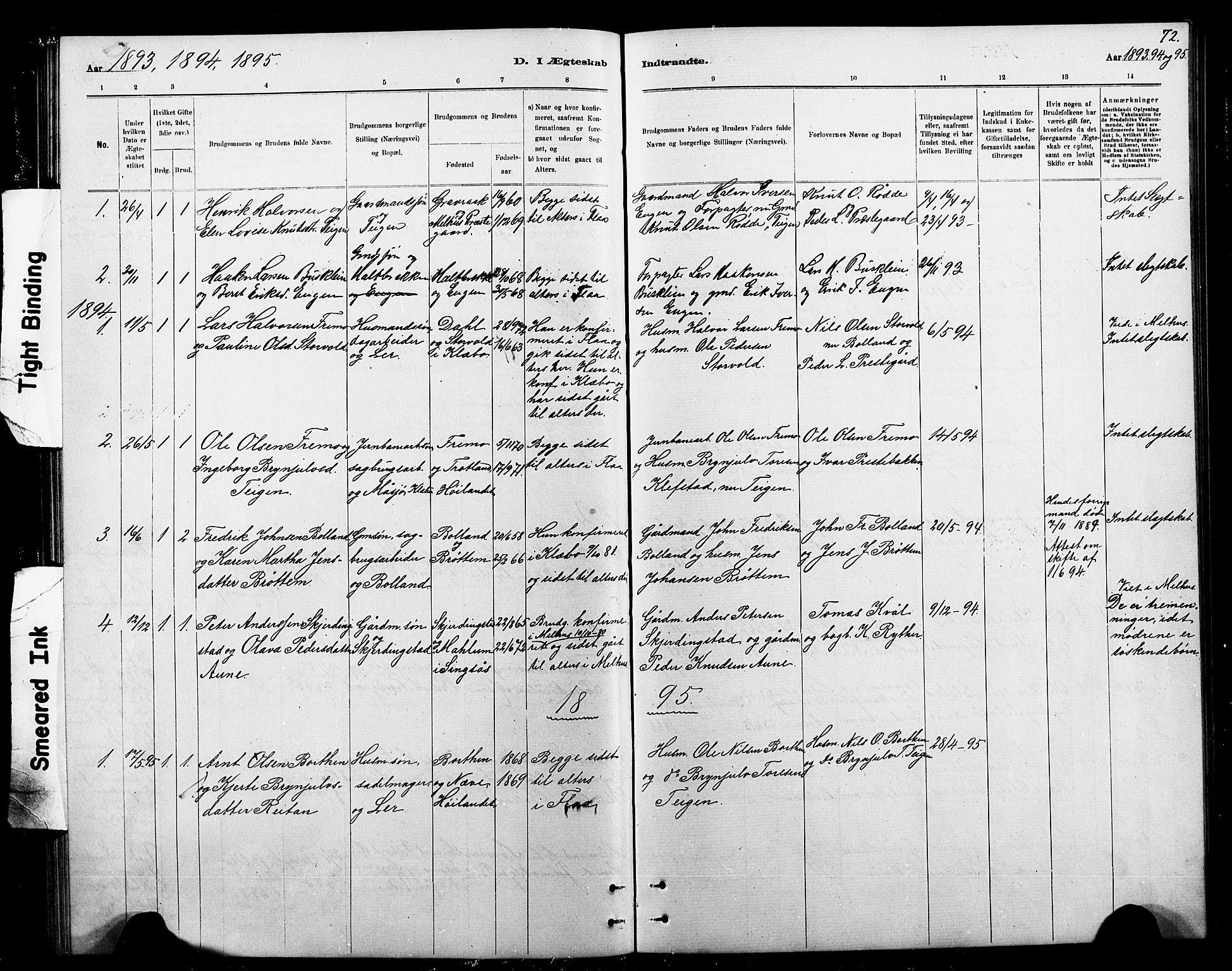 SAT, Ministerialprotokoller, klokkerbøker og fødselsregistre - Sør-Trøndelag, 693/L1123: Klokkerbok nr. 693C04, 1887-1910, s. 72