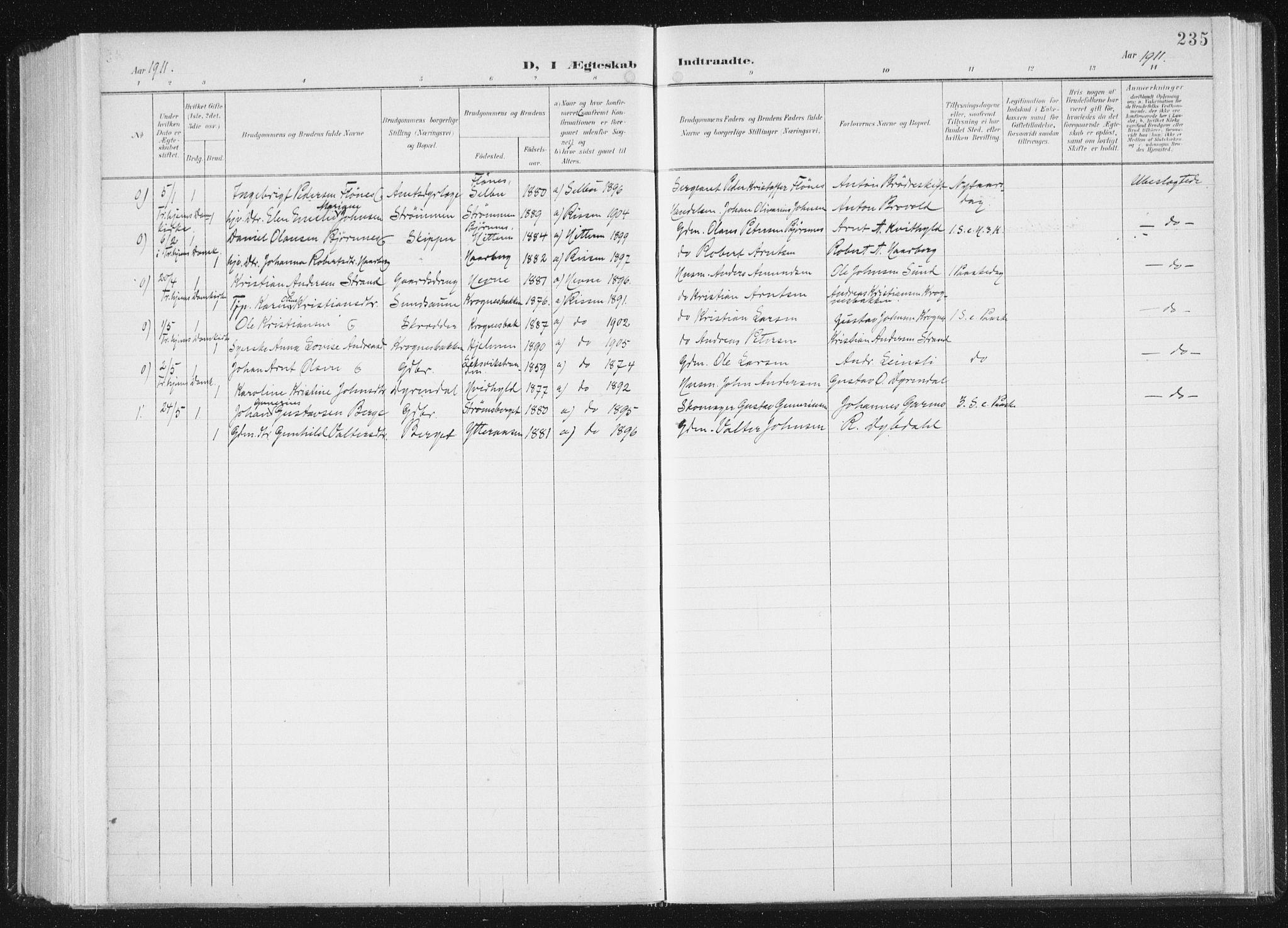 SAT, Ministerialprotokoller, klokkerbøker og fødselsregistre - Sør-Trøndelag, 647/L0635: Ministerialbok nr. 647A02, 1896-1911, s. 235