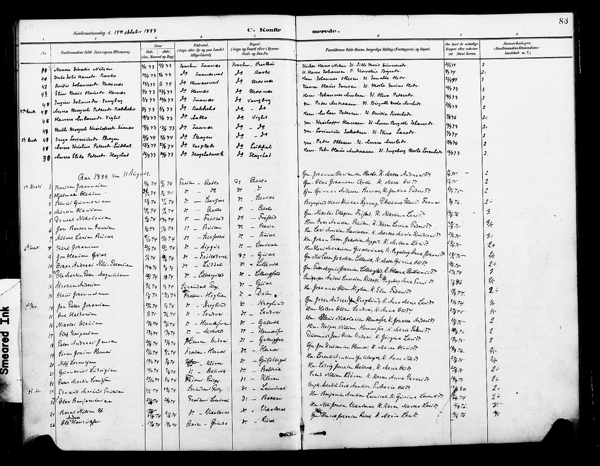 SAT, Ministerialprotokoller, klokkerbøker og fødselsregistre - Nord-Trøndelag, 713/L0121: Ministerialbok nr. 713A10, 1888-1898, s. 88