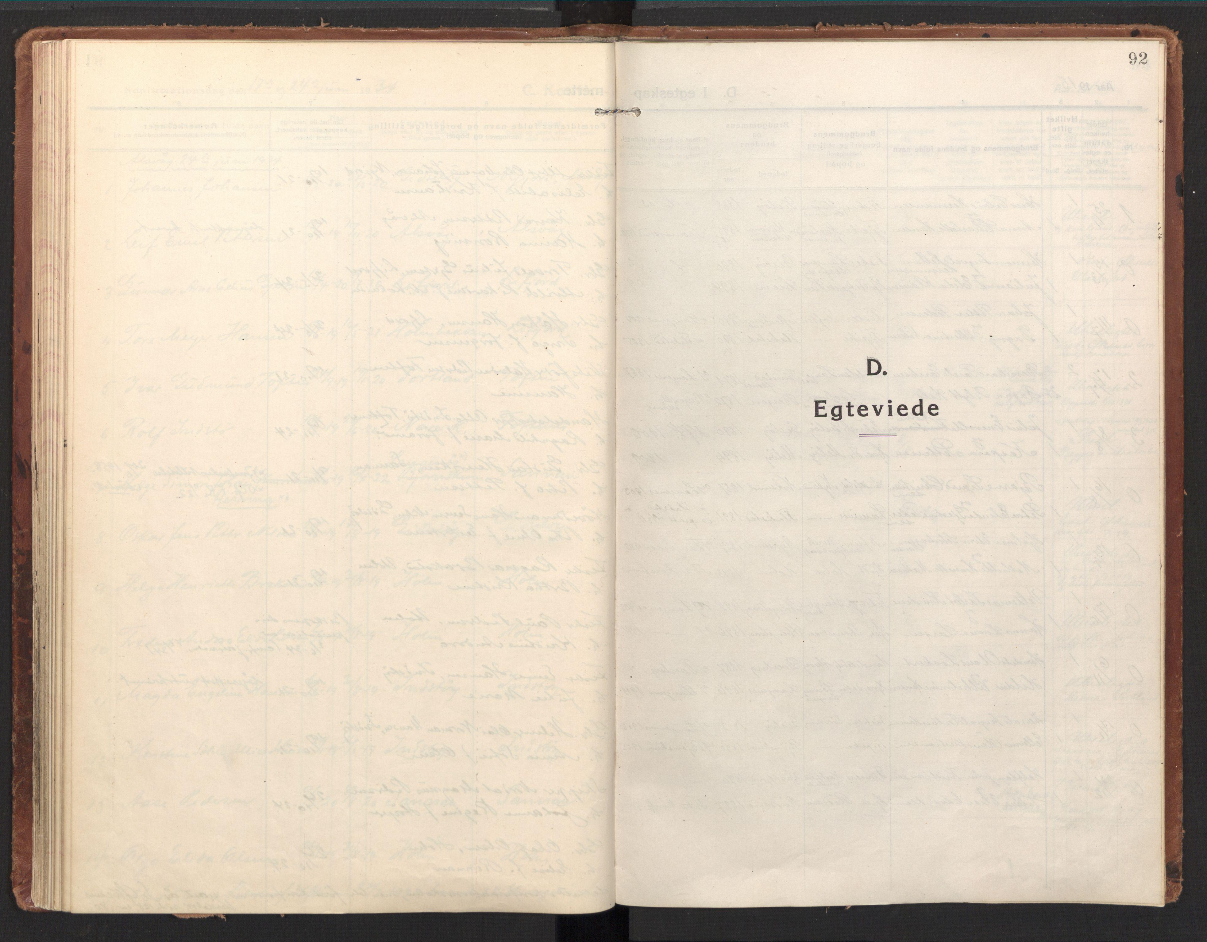 SAT, Ministerialprotokoller, klokkerbøker og fødselsregistre - Nordland, 894/L1357: Ministerialbok nr. 894A03, 1913-1934, s. 92