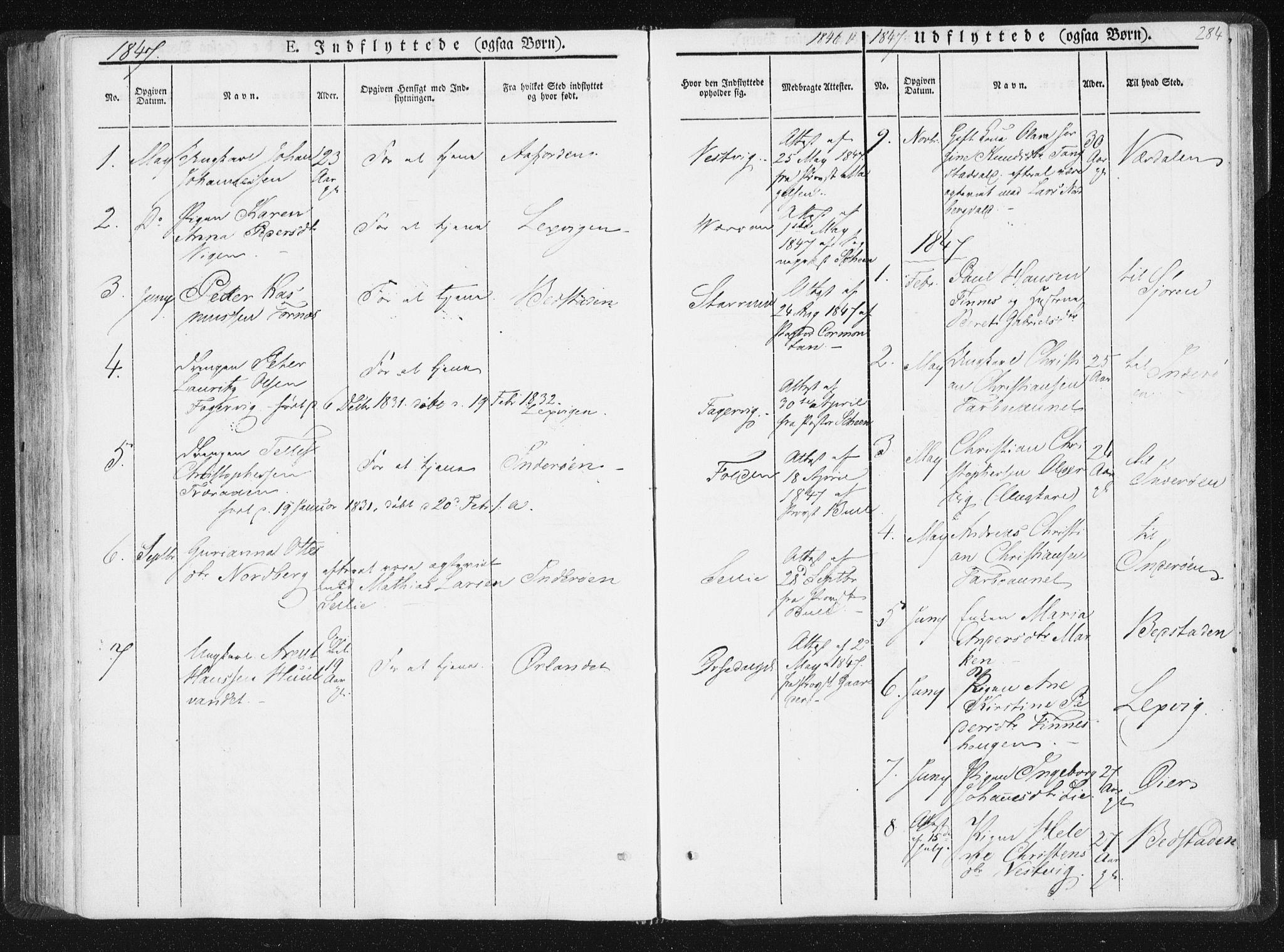 SAT, Ministerialprotokoller, klokkerbøker og fødselsregistre - Nord-Trøndelag, 744/L0418: Ministerialbok nr. 744A02, 1843-1866, s. 284