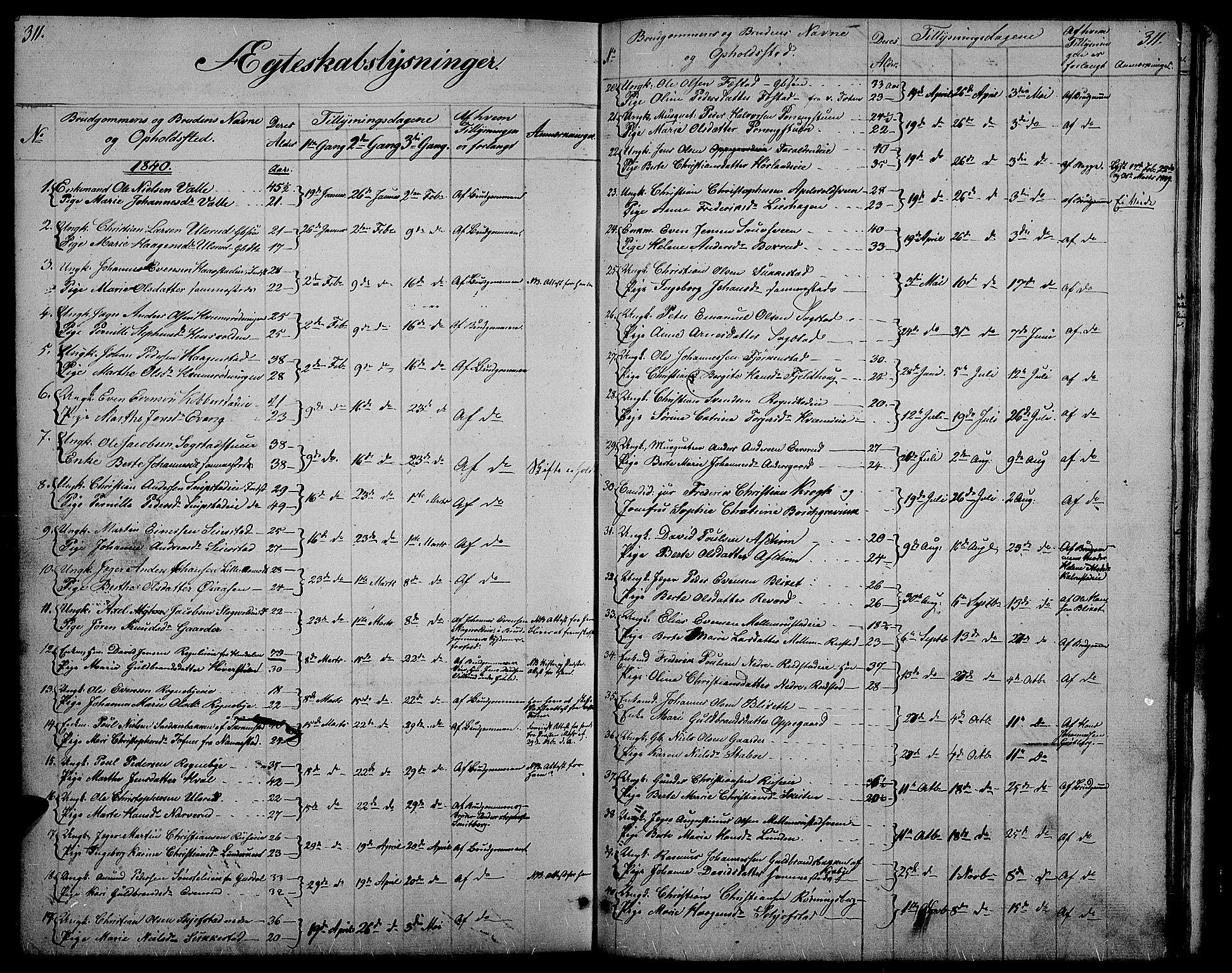 SAH, Østre Toten prestekontor, Klokkerbok nr. 2, 1840-1847, s. 311