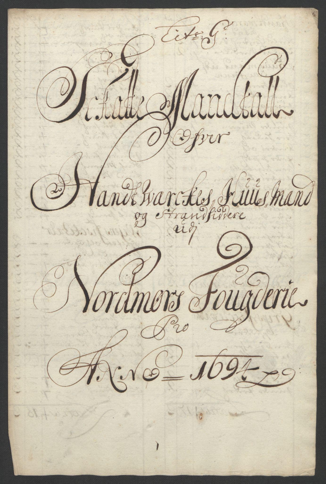 RA, Rentekammeret inntil 1814, Reviderte regnskaper, Fogderegnskap, R56/L3736: Fogderegnskap Nordmøre, 1694-1696, s. 93