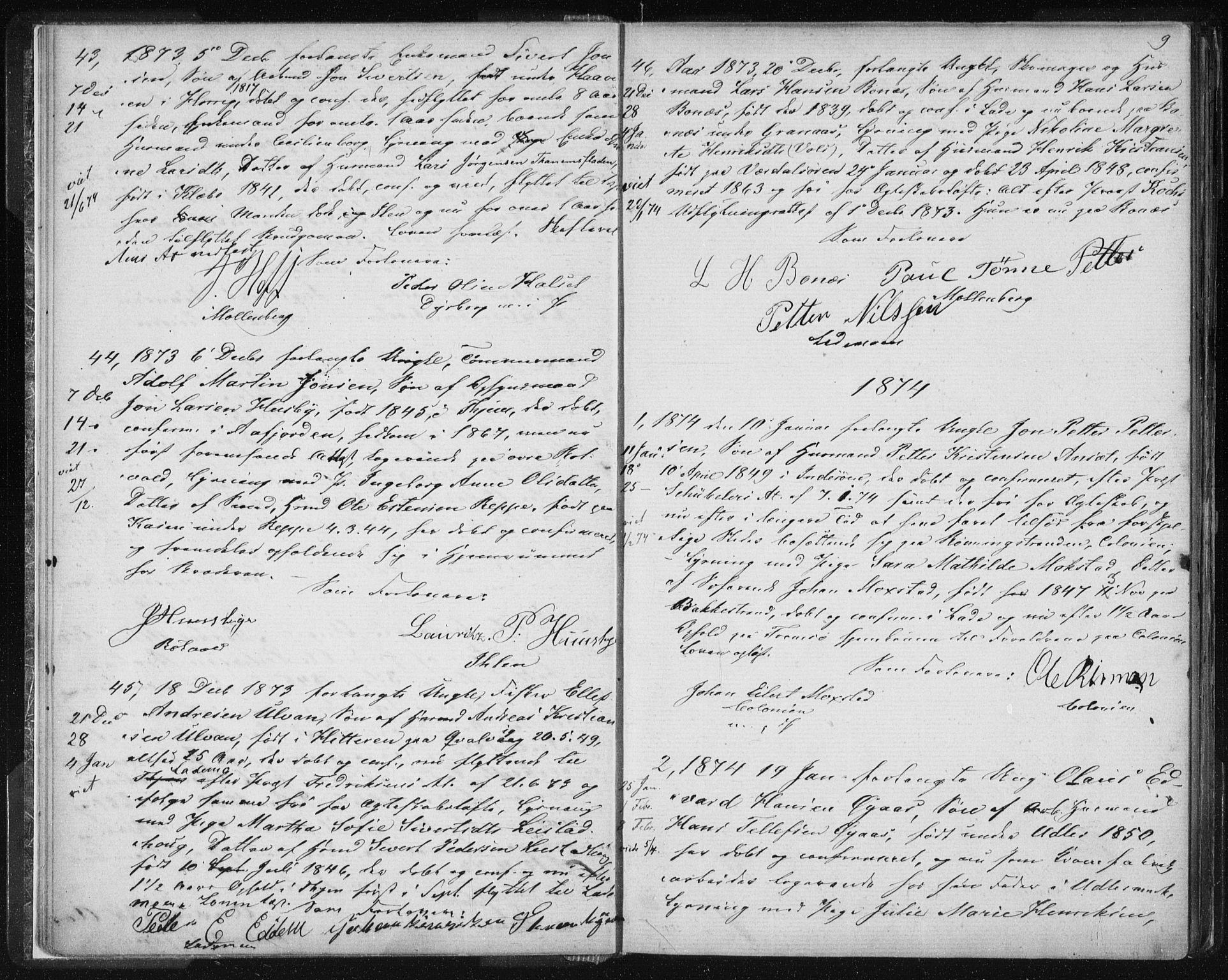SAT, Ministerialprotokoller, klokkerbøker og fødselsregistre - Sør-Trøndelag, 606/L0299: Lysningsprotokoll nr. 606A14, 1873-1889, s. 9