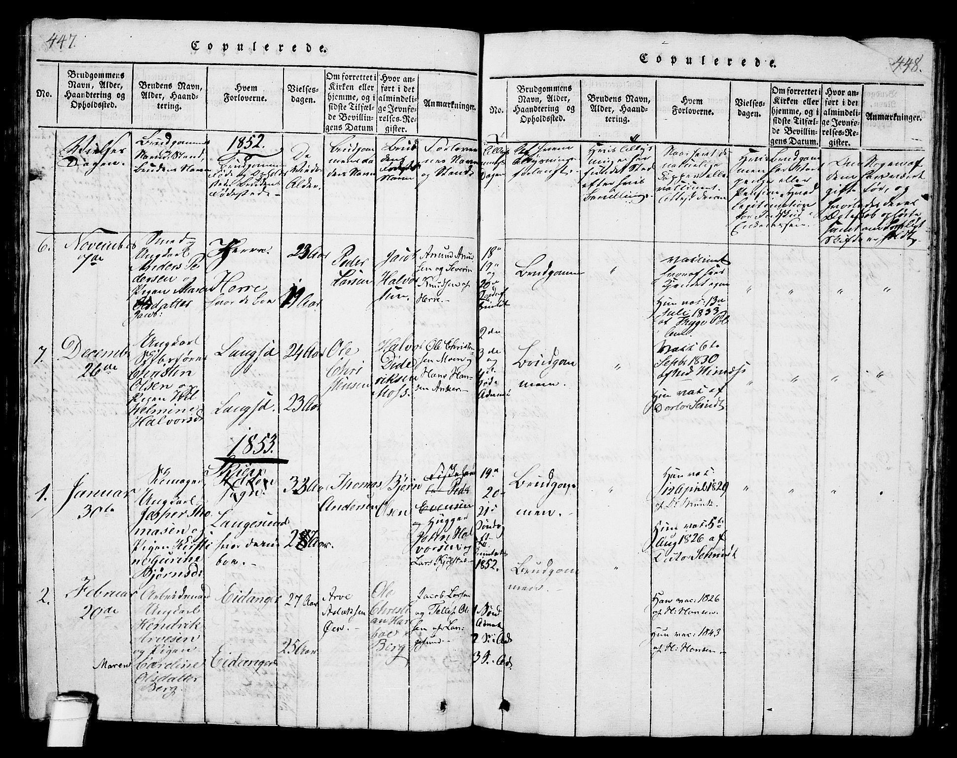 SAKO, Langesund kirkebøker, G/Ga/L0003: Klokkerbok nr. 3, 1815-1858, s. 447-448