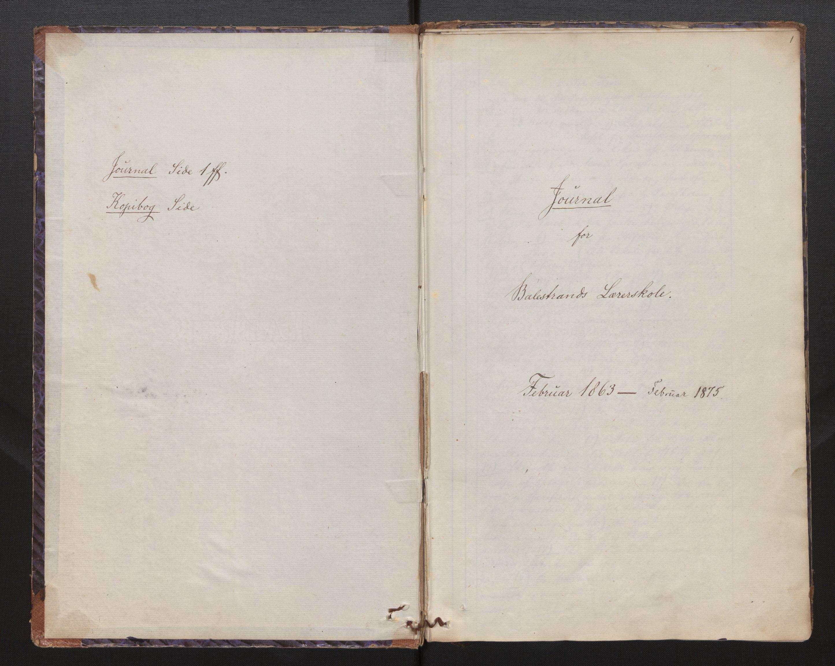 SAB, Balestrand lærerskole, B/L0001: Kopibok / journal, 1863-1874