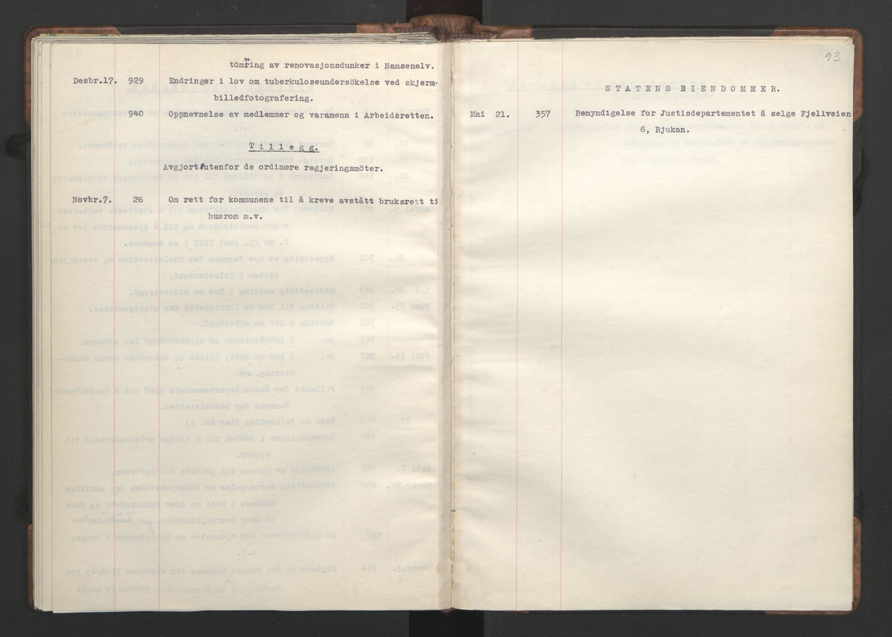 RA, NS-administrasjonen 1940-1945 (Statsrådsekretariatet, de kommisariske statsråder mm), D/Da/L0002: Register (RA j.nr. 985/1943, tilgangsnr. 17/1943), 1942, s. 92b-93a