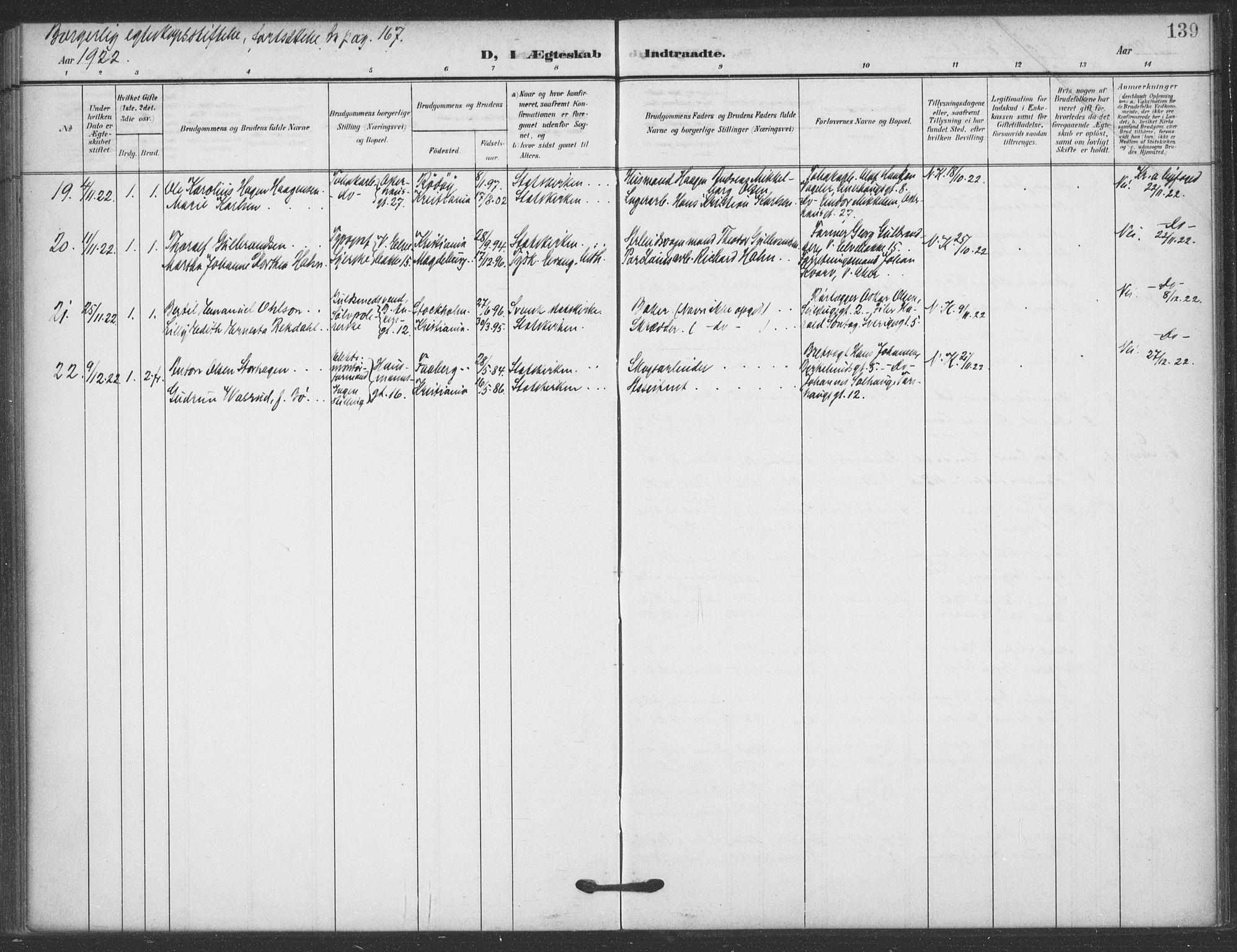 SAO, Jakob prestekontor Kirkebøker, F/Fa/L0010: Ministerialbok nr. 10, 1908-1922, s. 139