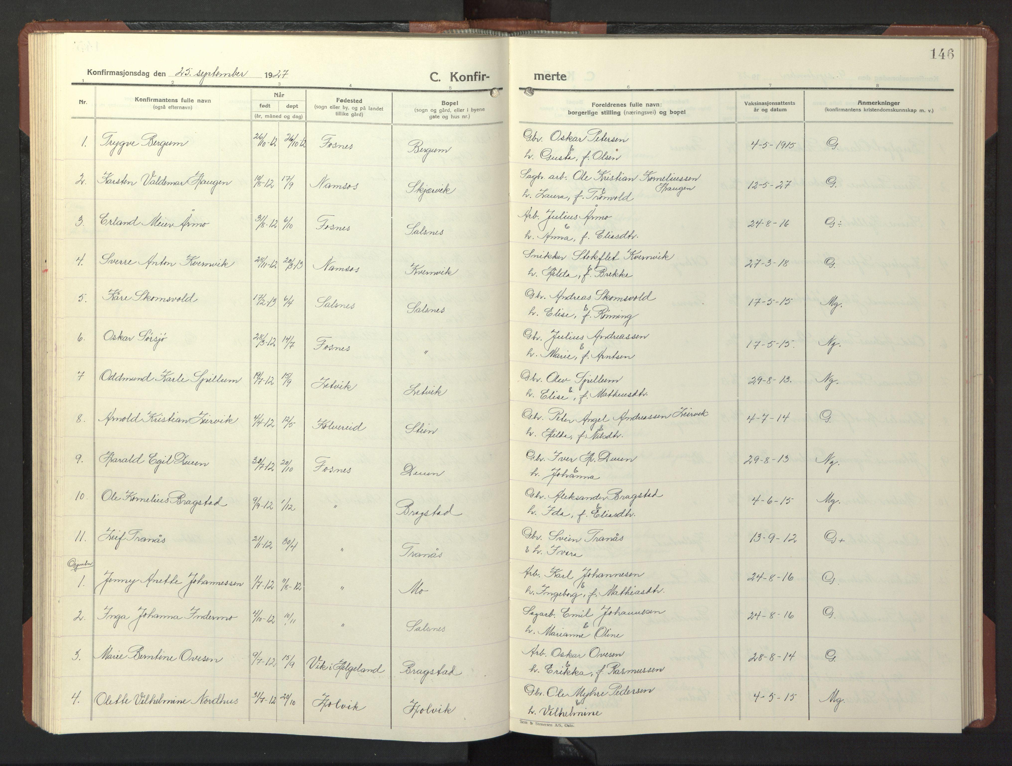 SAT, Ministerialprotokoller, klokkerbøker og fødselsregistre - Nord-Trøndelag, 773/L0625: Klokkerbok nr. 773C01, 1910-1952, s. 146