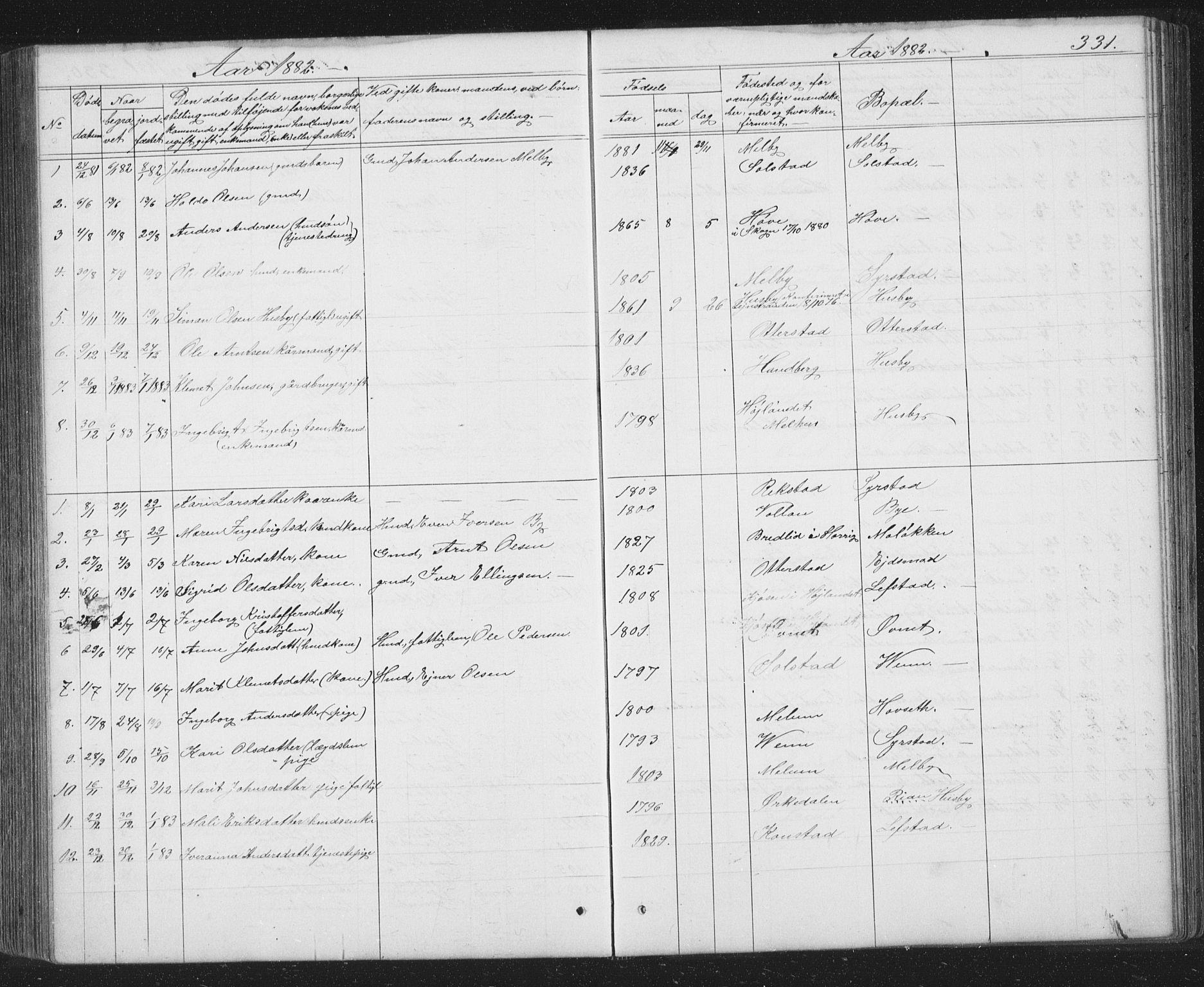 SAT, Ministerialprotokoller, klokkerbøker og fødselsregistre - Sør-Trøndelag, 667/L0798: Klokkerbok nr. 667C03, 1867-1929, s. 331