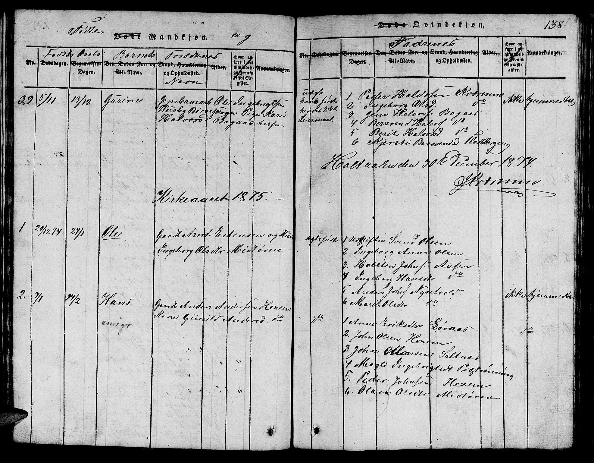 SAT, Ministerialprotokoller, klokkerbøker og fødselsregistre - Sør-Trøndelag, 685/L0976: Klokkerbok nr. 685C01, 1817-1878, s. 138