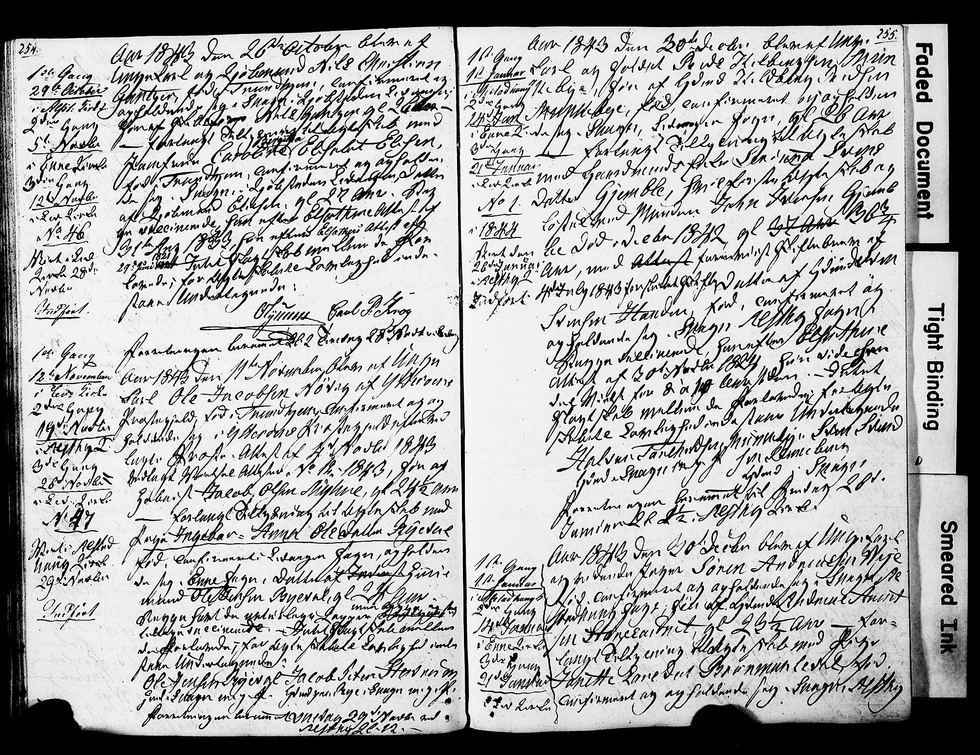 SAT, Ministerialprotokoller, klokkerbøker og fødselsregistre - Nord-Trøndelag, 717/L0160: Forlovererklæringer nr. 717A10, 1828-1850, s. 254-255