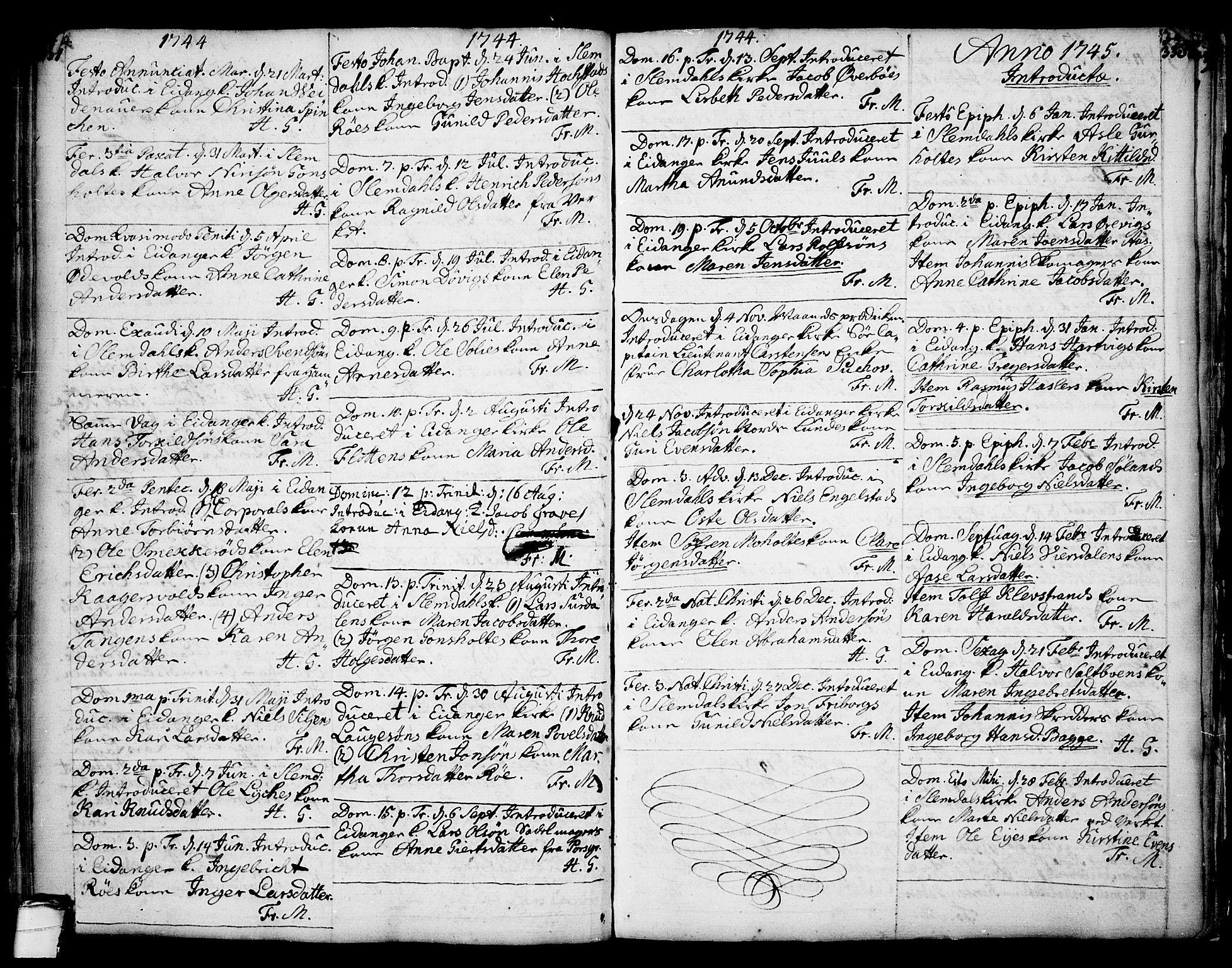 SAKO, Eidanger kirkebøker, F/Fa/L0004: Ministerialbok nr. 4, 1733-1759, s. 337-338