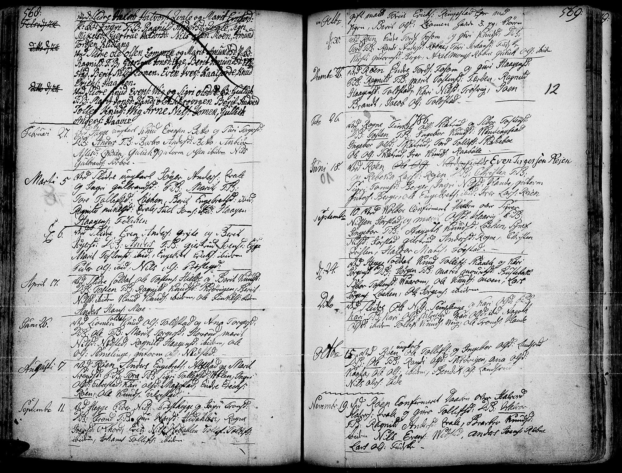 SAH, Slidre prestekontor, Ministerialbok nr. 1, 1724-1814, s. 568-569
