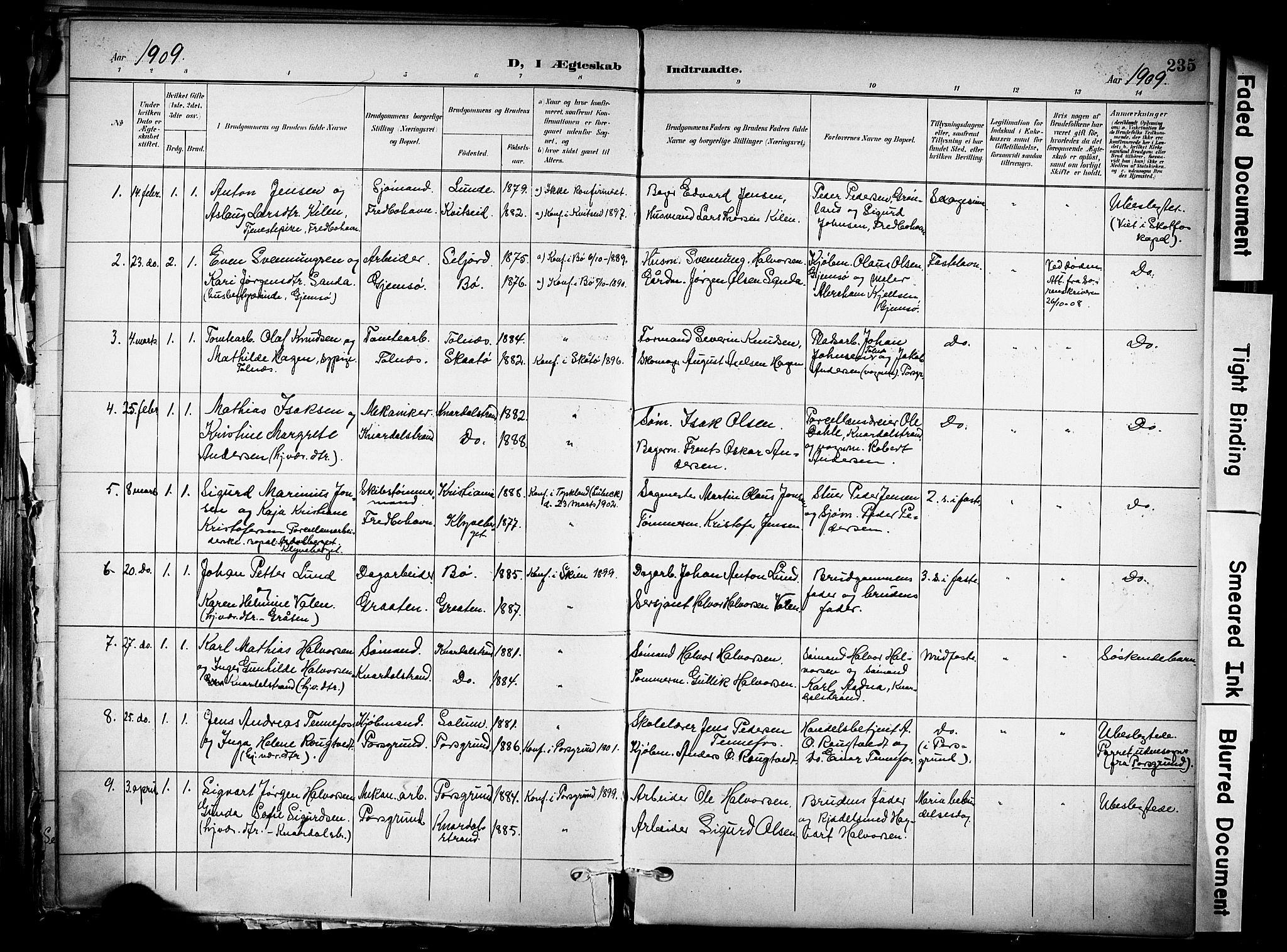 SAKO, Solum kirkebøker, F/Fa/L0011: Ministerialbok nr. I 11, 1898-1909, s. 235