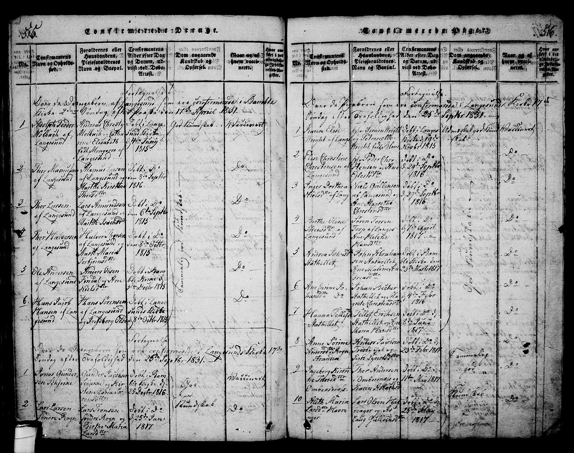 SAKO, Langesund kirkebøker, G/Ga/L0003: Klokkerbok nr. 3, 1815-1858, s. 515-516