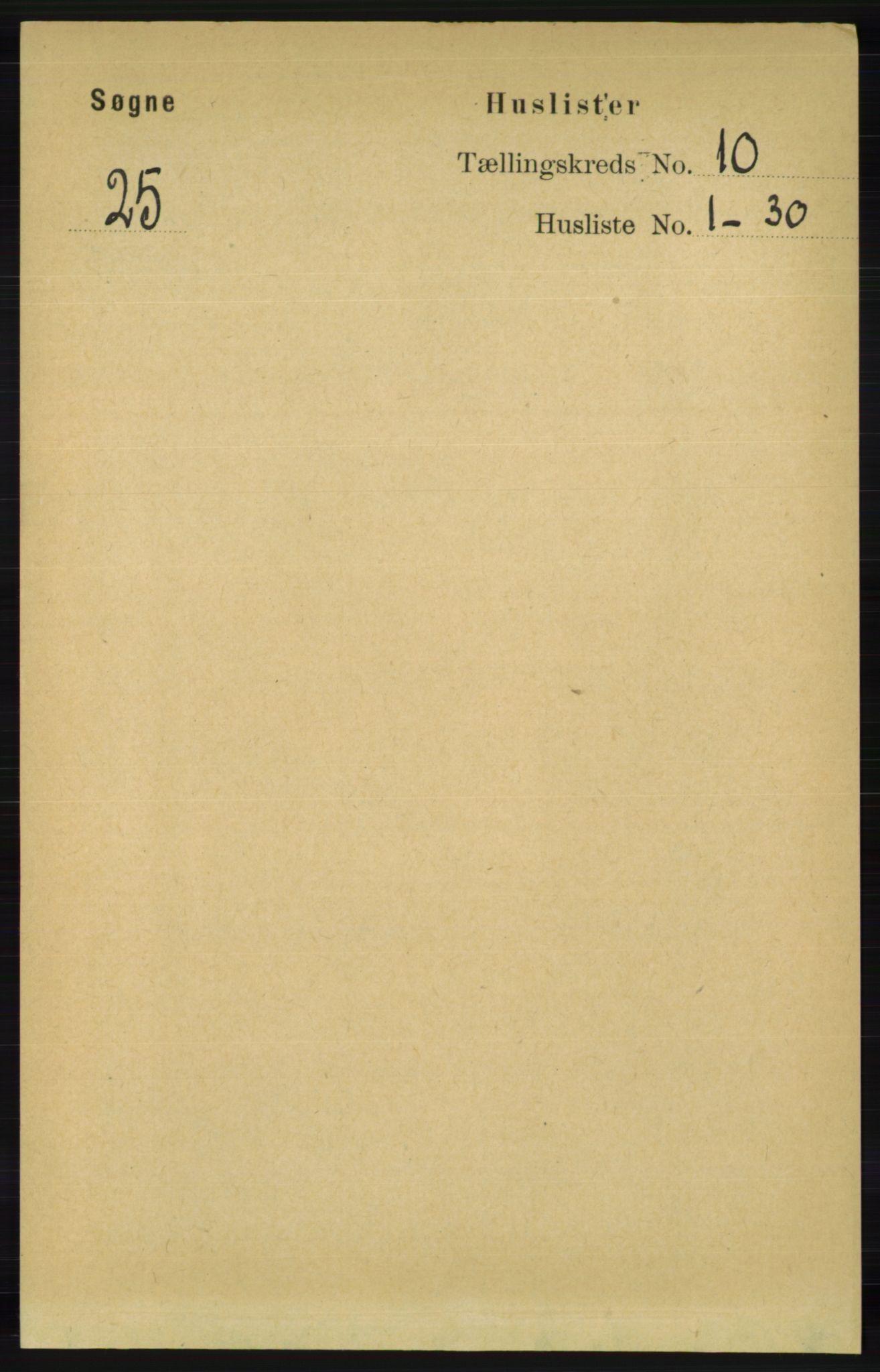 RA, Folketelling 1891 for 1018 Søgne herred, 1891, s. 2677