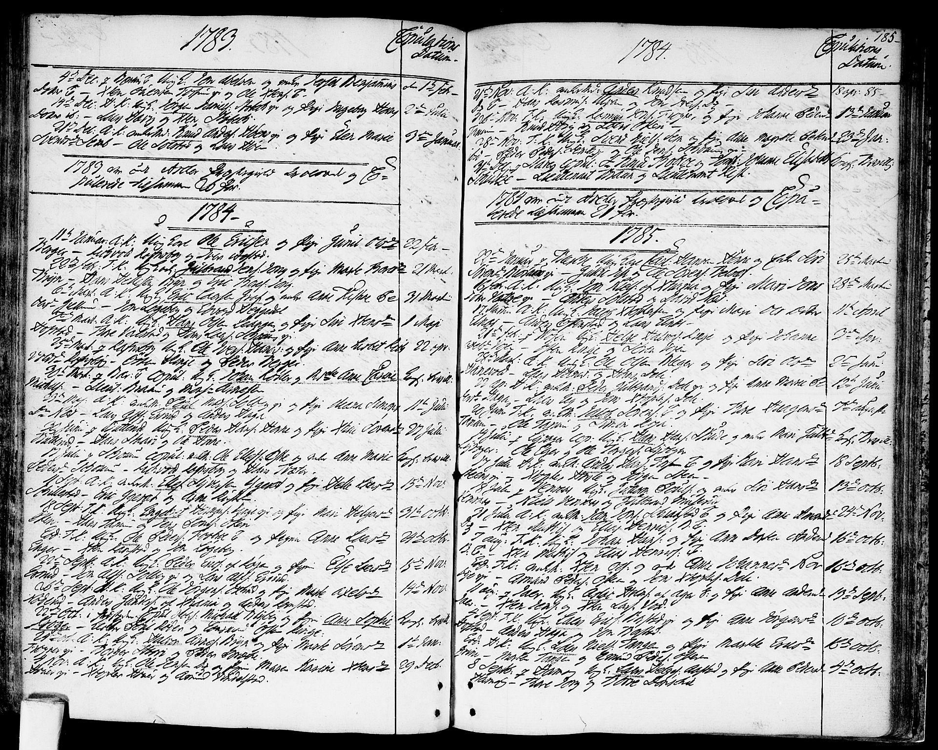 SAO, Asker prestekontor Kirkebøker, F/Fa/L0003: Ministerialbok nr. I 3, 1767-1807, s. 185