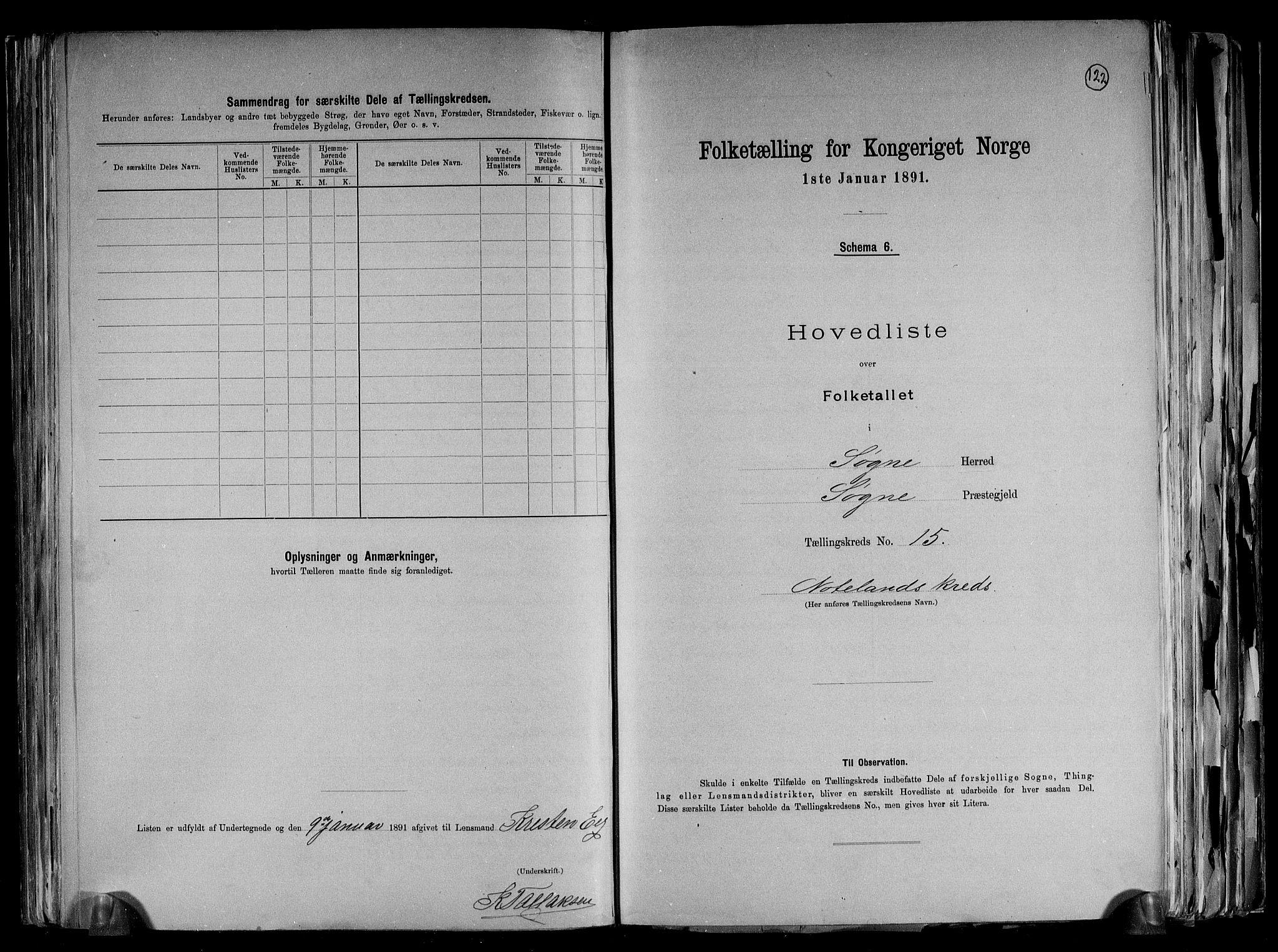 RA, Folketelling 1891 for 1018 Søgne herred, 1891, s. 38