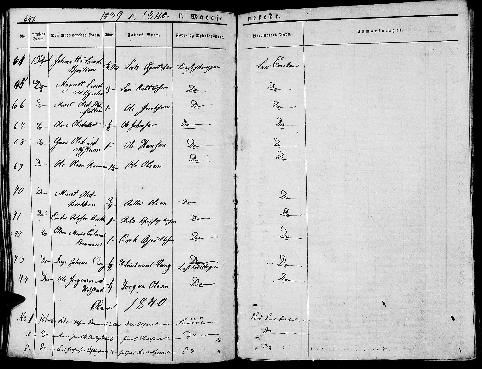 SAH, Lesja prestekontor, Ministerialbok nr. 5, 1830-1842, s. 647