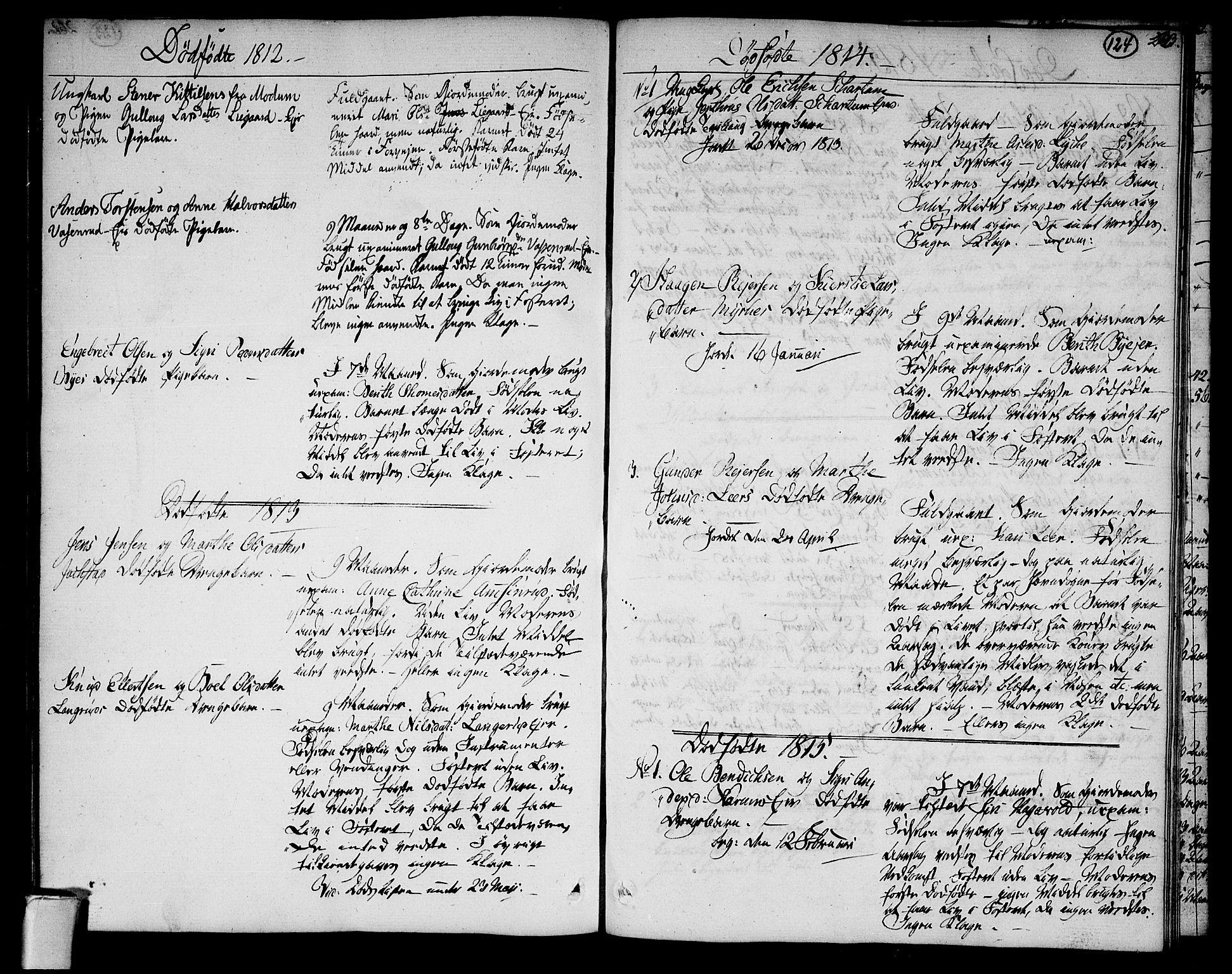SAKO, Sigdal kirkebøker, F/Fa/L0004: Ministerialbok nr. I 4, 1812-1815, s. 124