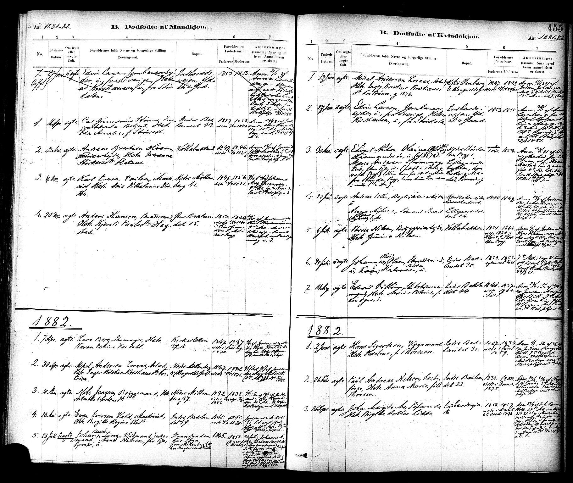SAT, Ministerialprotokoller, klokkerbøker og fødselsregistre - Sør-Trøndelag, 604/L0188: Ministerialbok nr. 604A09, 1878-1892, s. 455