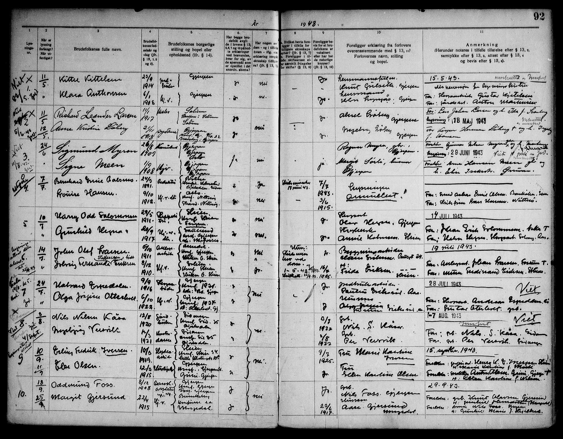 SAKO, Gjerpen kirkebøker, H/Ha/L0003: Lysningsprotokoll nr. I 3, 1919-1946, s. 92