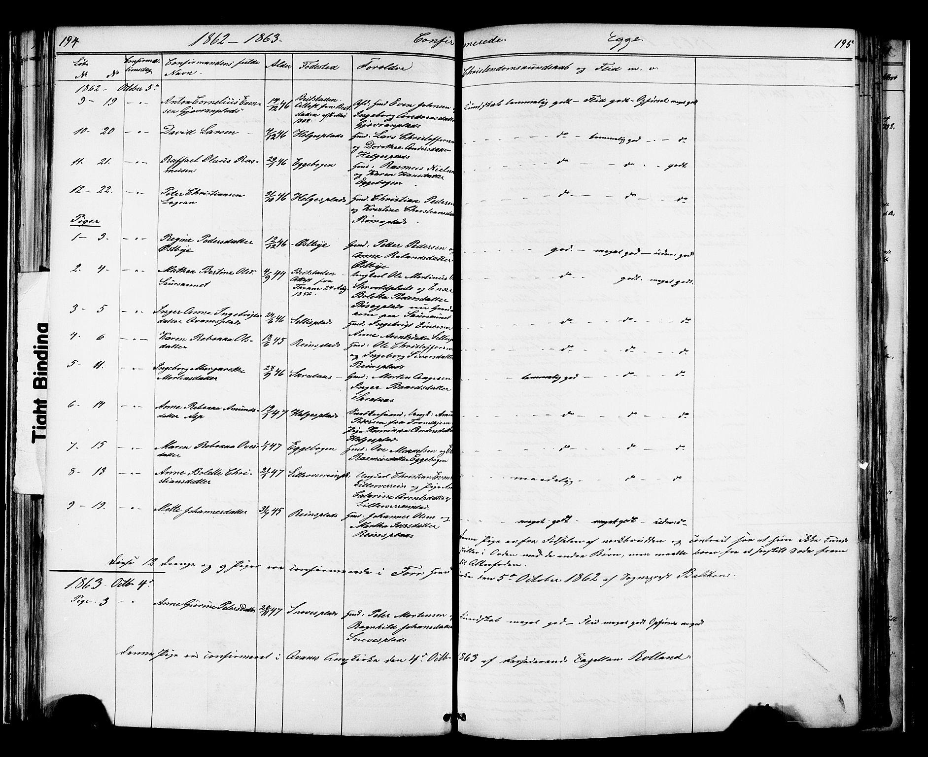 SAT, Ministerialprotokoller, klokkerbøker og fødselsregistre - Nord-Trøndelag, 739/L0367: Ministerialbok nr. 739A01 /3, 1838-1868, s. 194-195