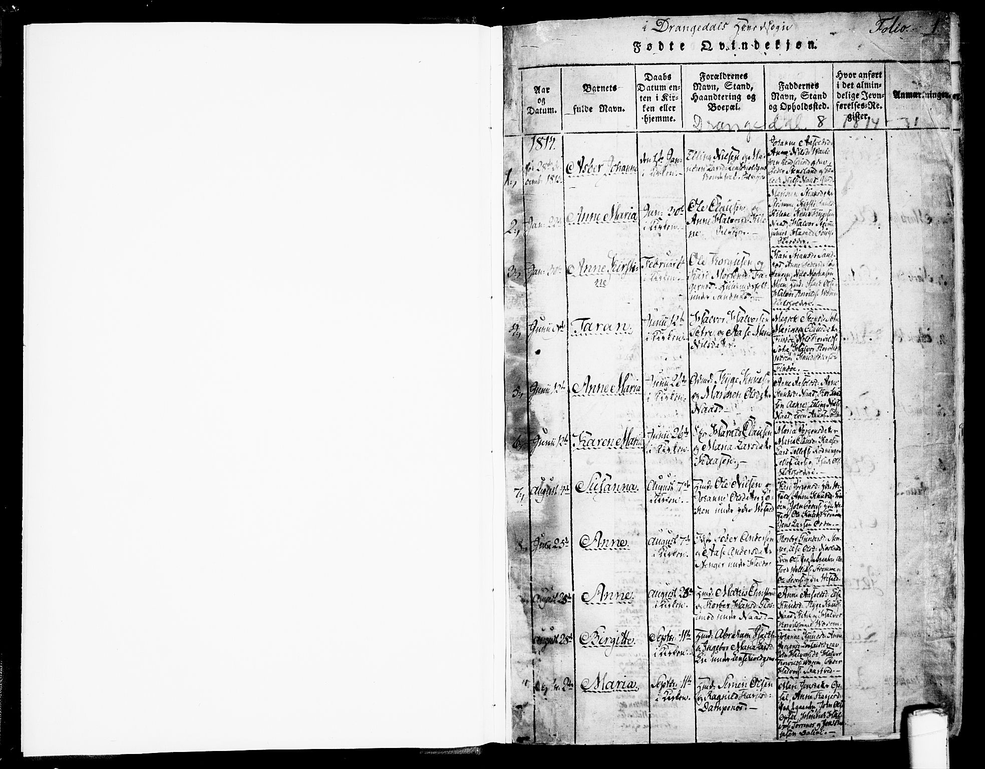 SAKO, Drangedal kirkebøker, F/Fa/L0005: Ministerialbok nr. 5 /1, 1814-1831, s. 1