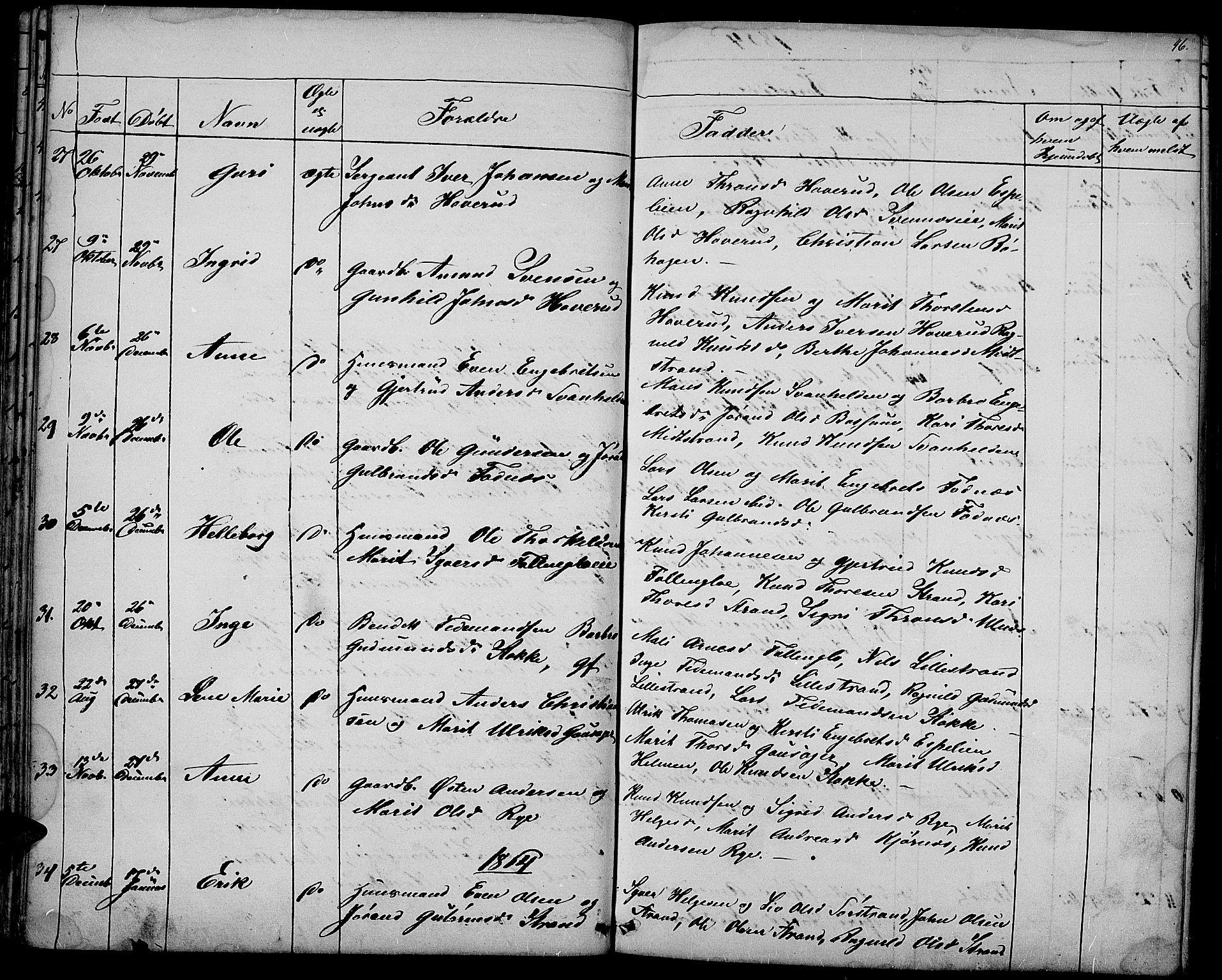 SAH, Nord-Aurdal prestekontor, Klokkerbok nr. 3, 1842-1882, s. 46
