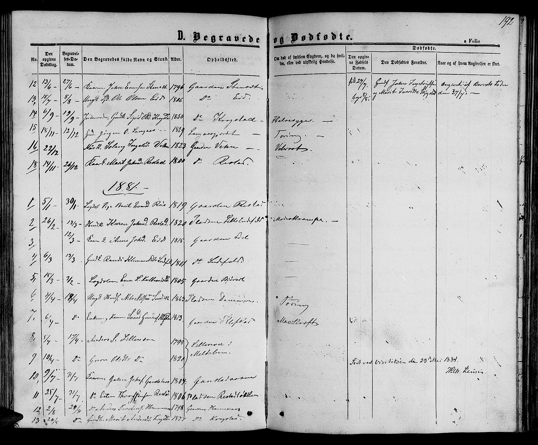 SAT, Ministerialprotokoller, klokkerbøker og fødselsregistre - Sør-Trøndelag, 694/L1131: Klokkerbok nr. 694C03, 1858-1886, s. 192