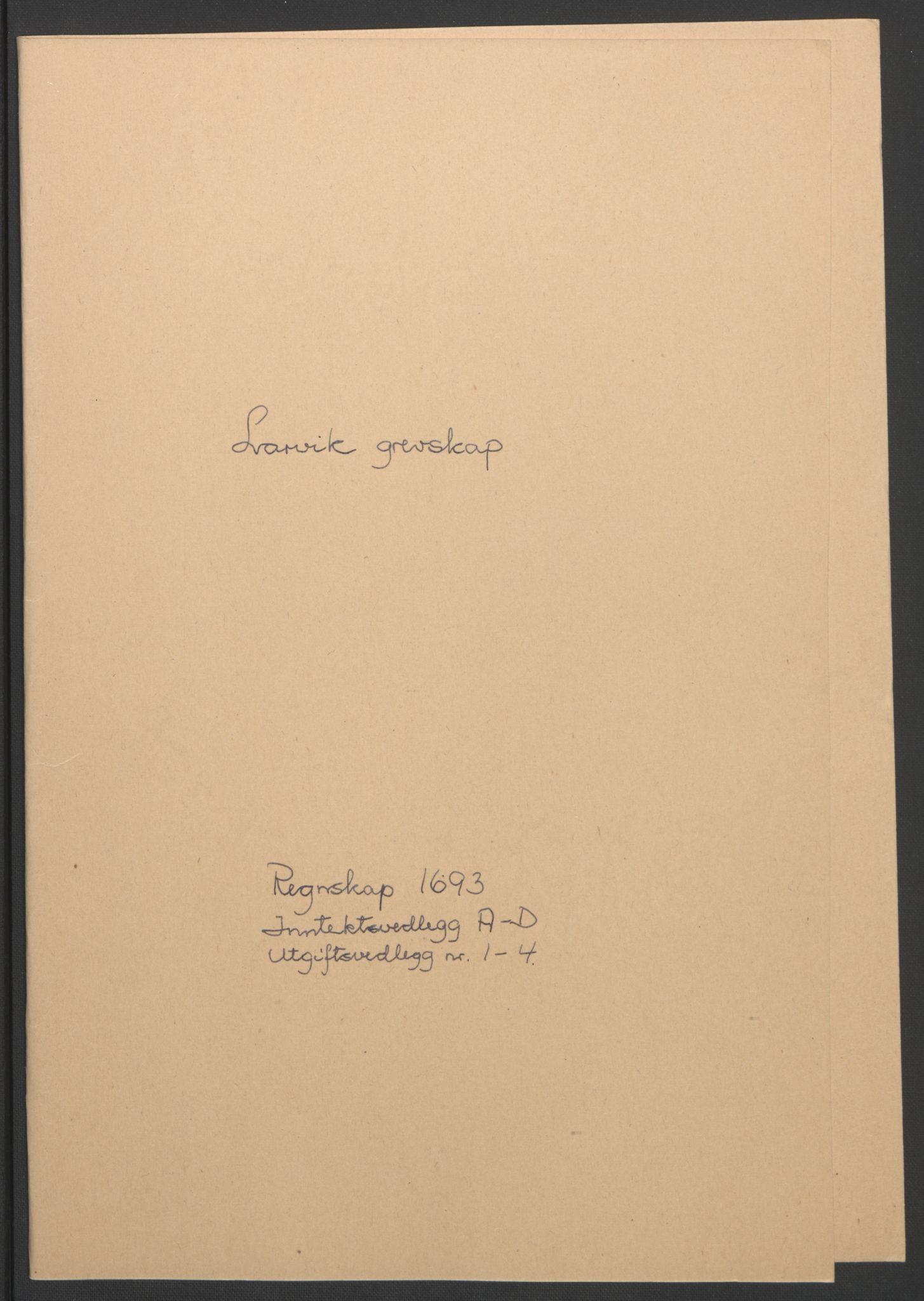 RA, Rentekammeret inntil 1814, Reviderte regnskaper, Fogderegnskap, R33/L1974: Fogderegnskap Larvik grevskap, 1693-1695, s. 2