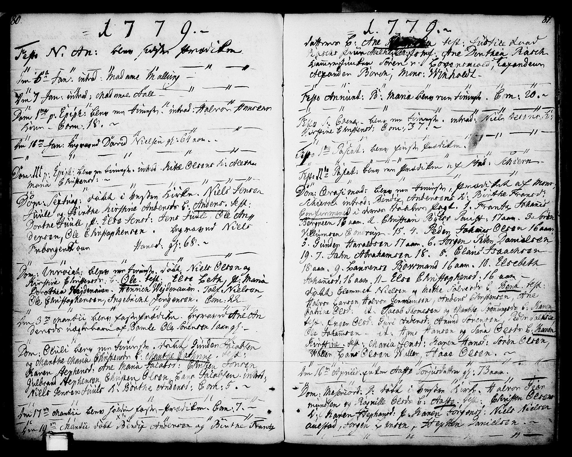 SAKO, Porsgrunn kirkebøker , F/Fa/L0002: Ministerialbok nr. 2, 1764-1814, s. 80-81