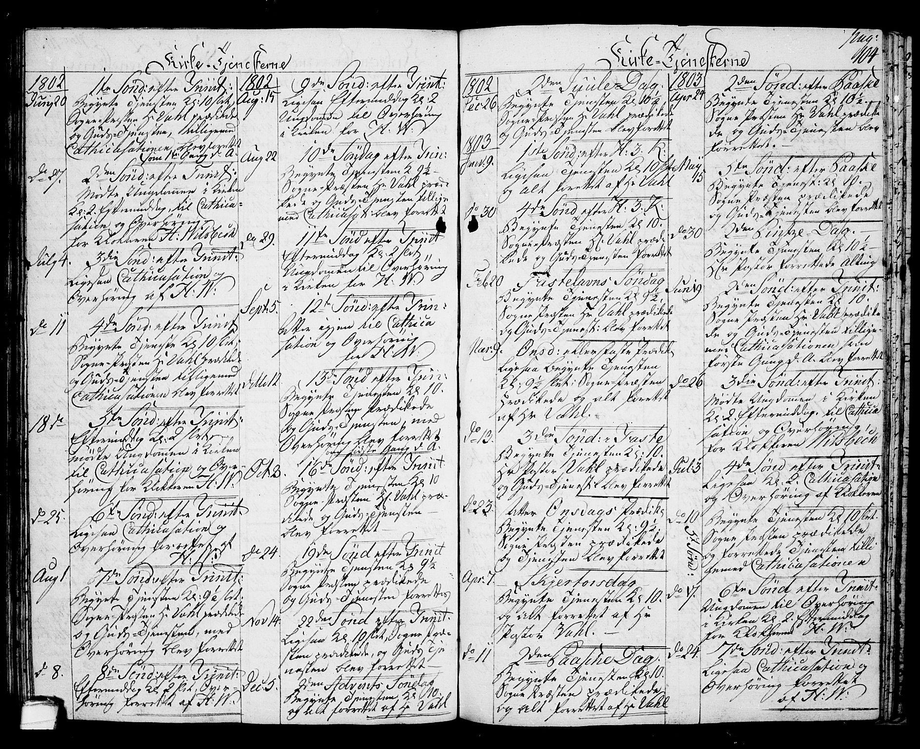 SAKO, Langesund kirkebøker, G/Ga/L0002: Klokkerbok nr. 2, 1801-1815, s. 104