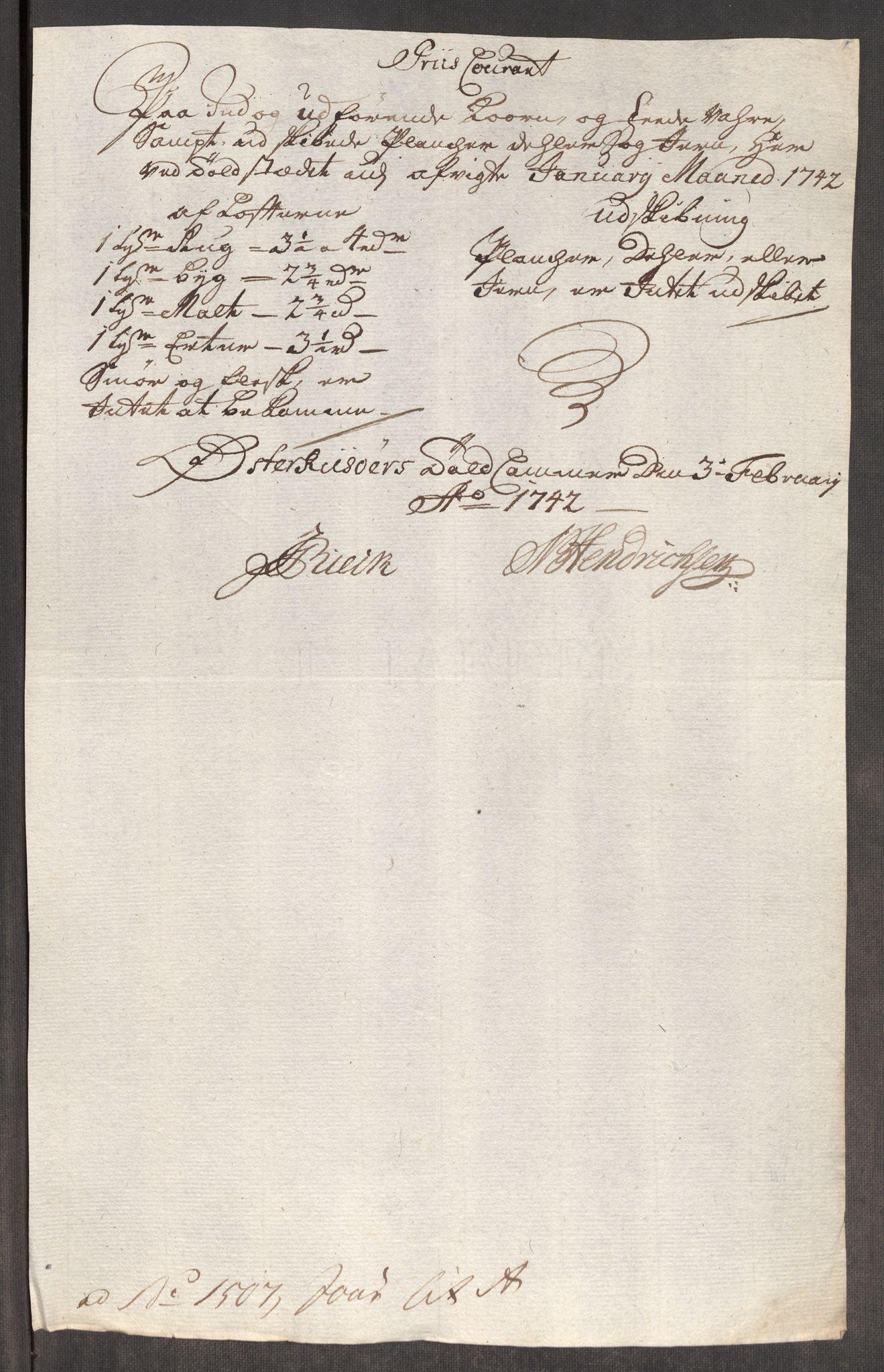 RA, Rentekammeret inntil 1814, Realistisk ordnet avdeling, Oe/L0002: [Ø1]: Priskuranter, 1740-1744, s. 542