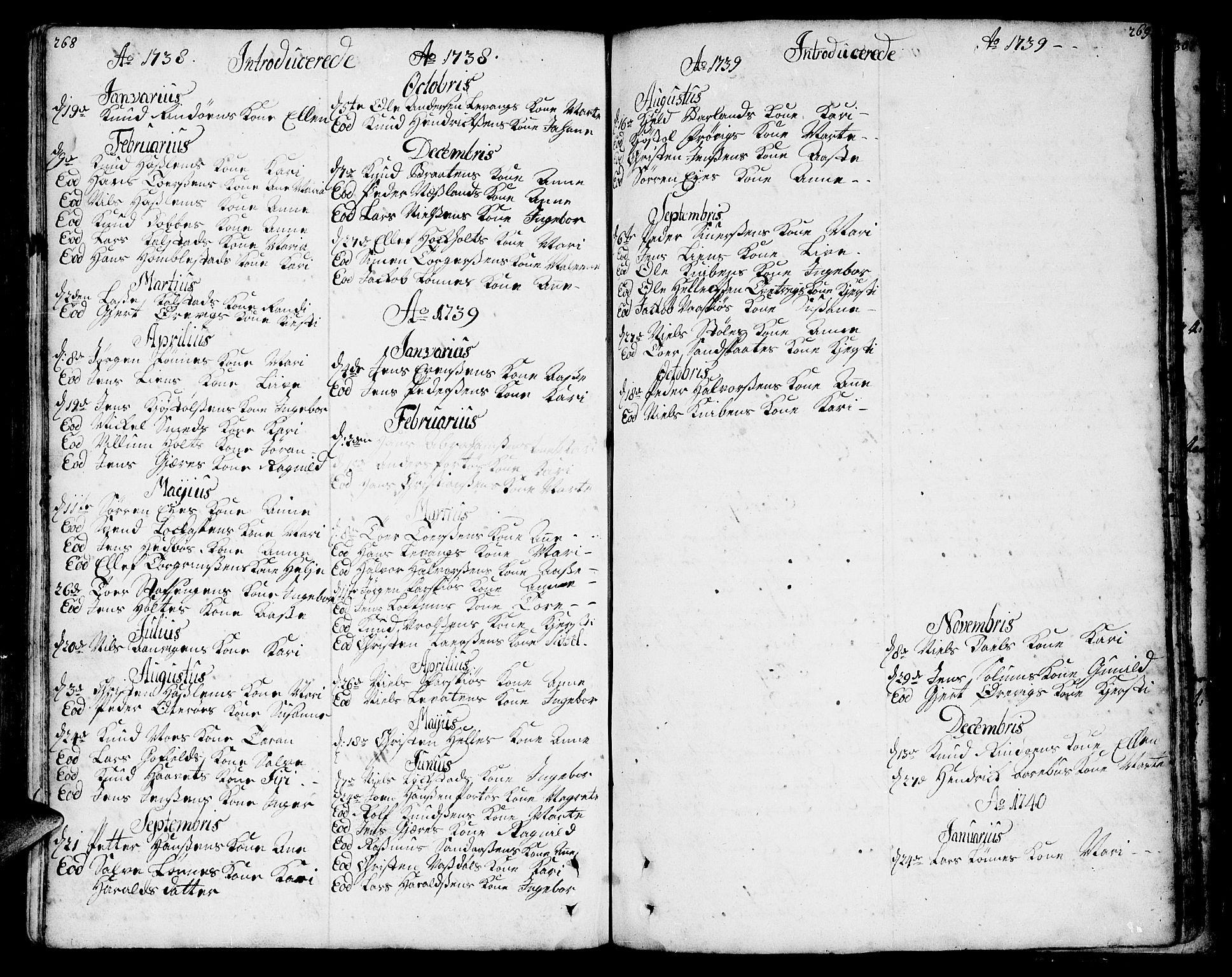 SAKO, Sannidal kirkebøker, F/Fa/L0001: Ministerialbok nr. 1, 1702-1766, s. 268-269