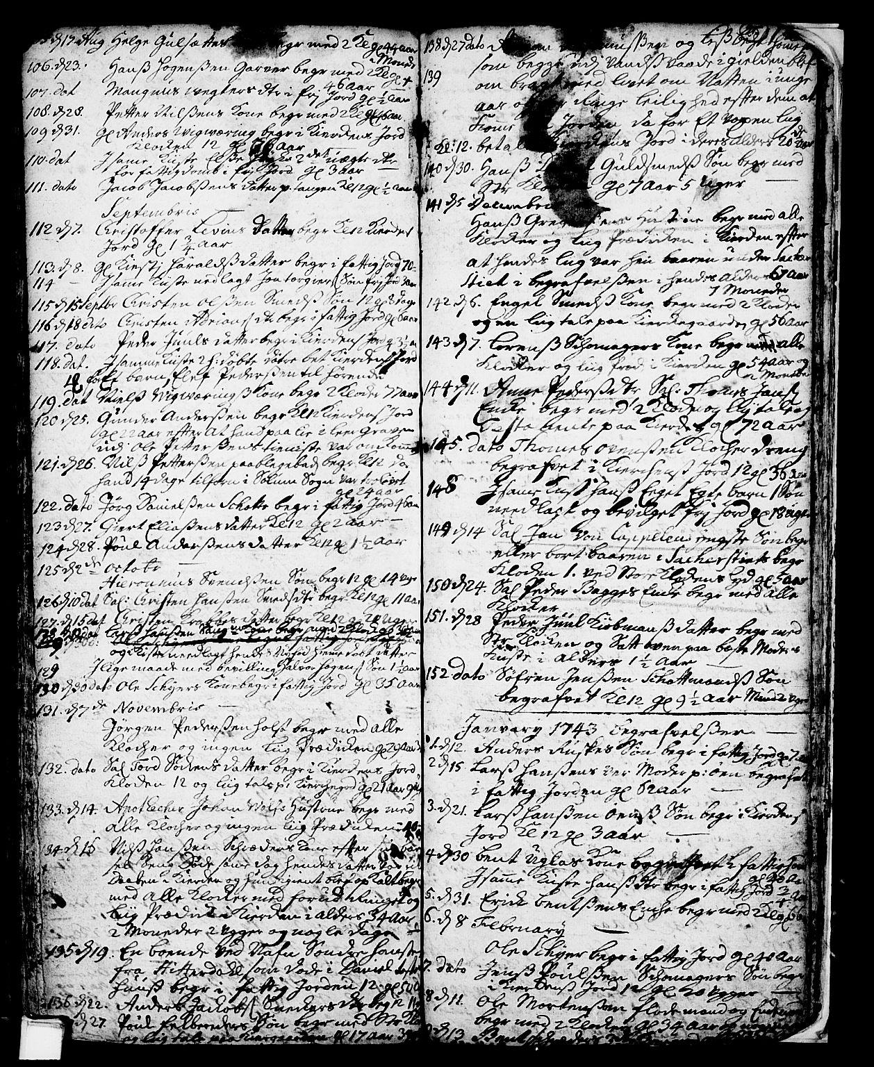 SAKO, Skien kirkebøker, F/Fa/L0002: Ministerialbok nr. 2, 1716-1757, s. 215