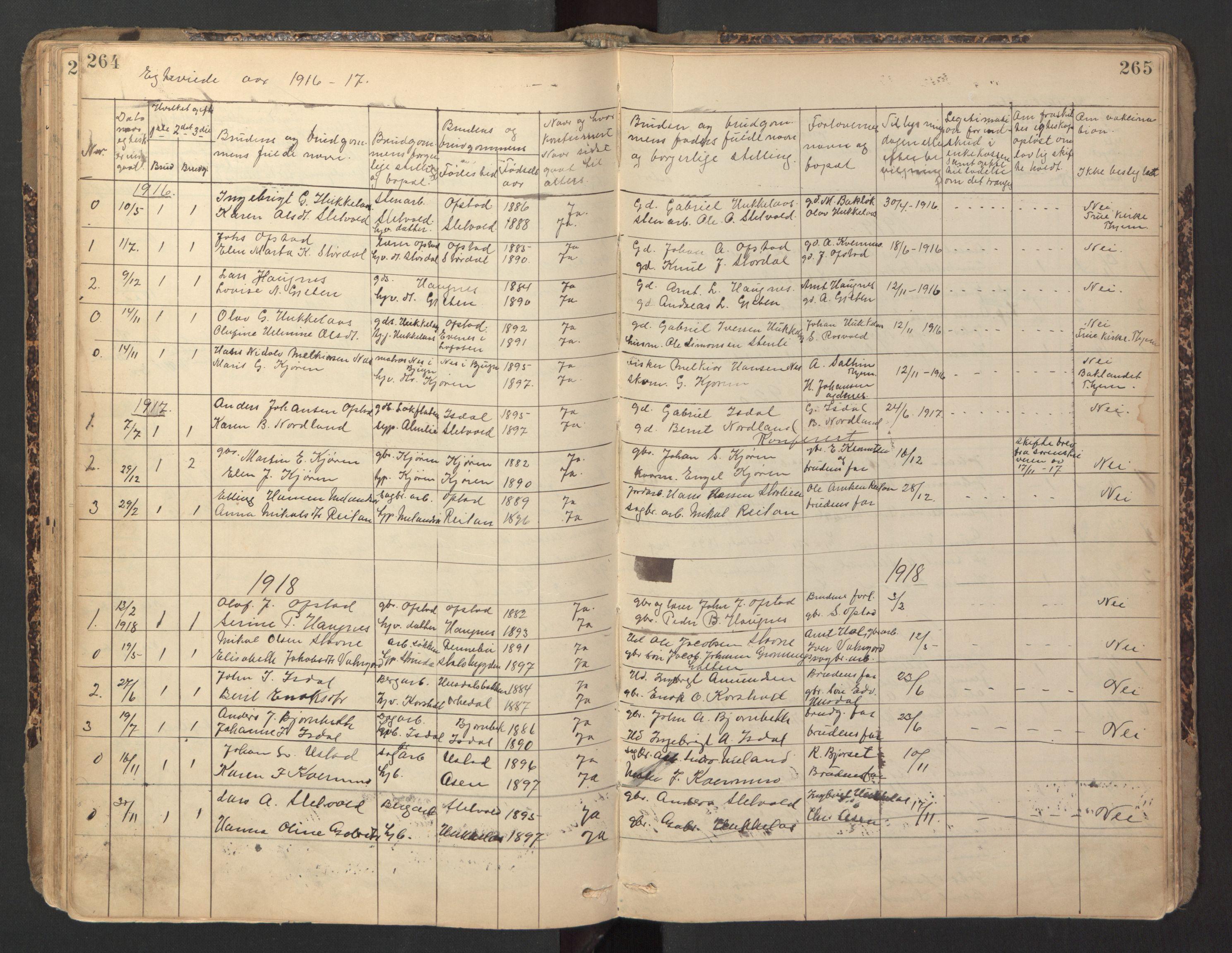 SAT, Ministerialprotokoller, klokkerbøker og fødselsregistre - Sør-Trøndelag, 670/L0837: Klokkerbok nr. 670C01, 1905-1946, s. 264-265
