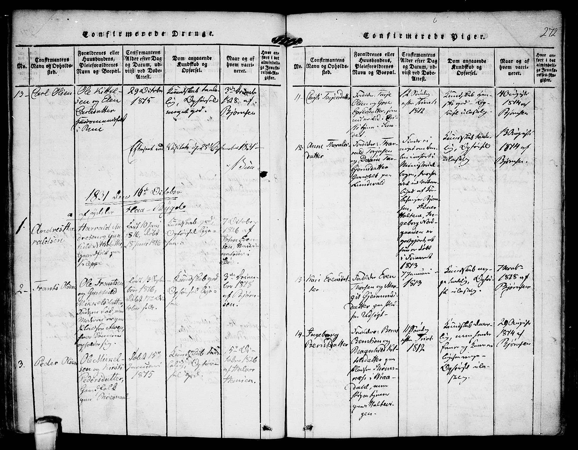 SAKO, Kviteseid kirkebøker, F/Fa/L0005: Ministerialbok nr. I 5, 1815-1836, s. 272