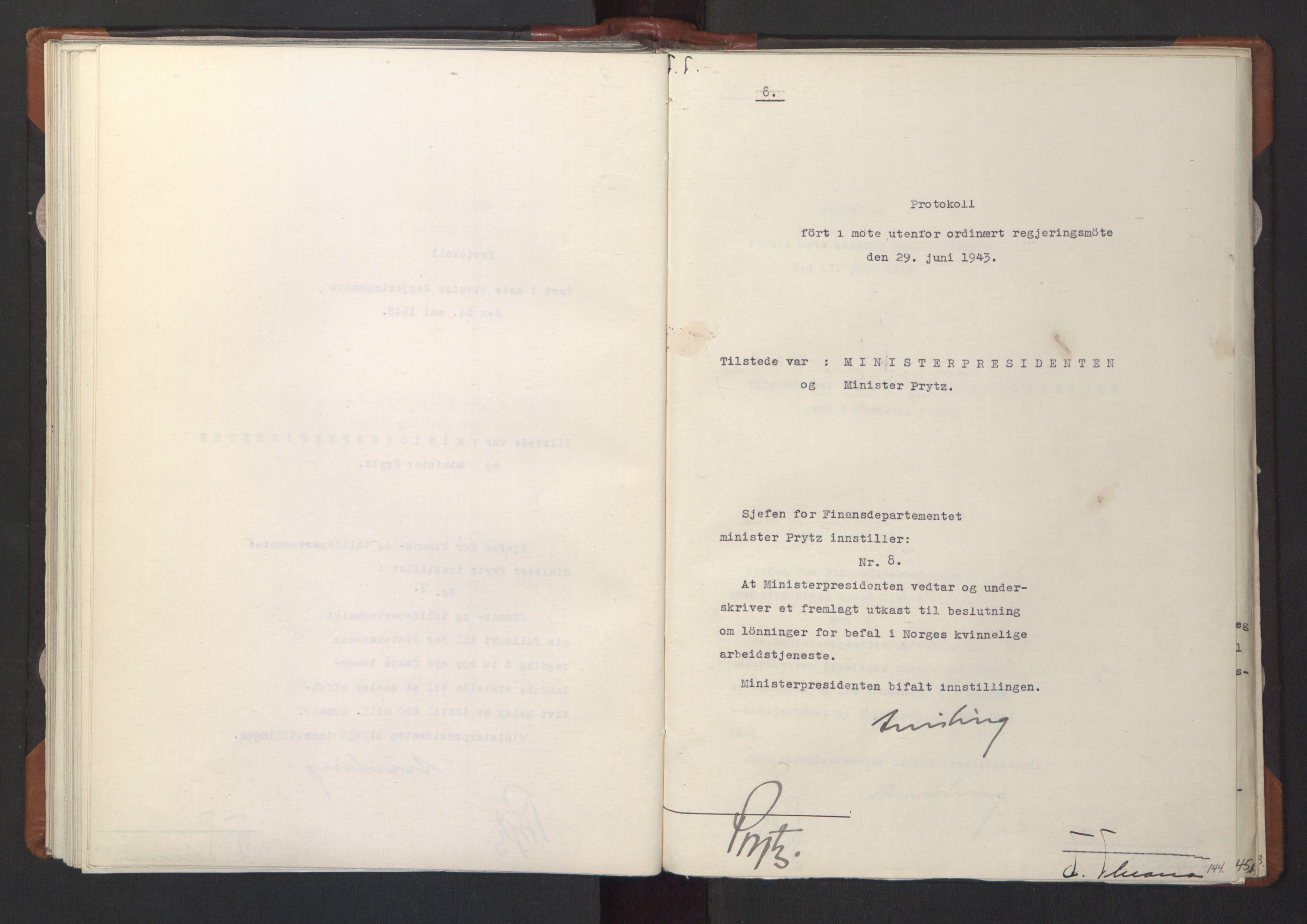 RA, NS-administrasjonen 1940-1945 (Statsrådsekretariatet, de kommisariske statsråder mm), D/Da/L0003: Vedtak (Beslutninger) nr. 1-746 og tillegg nr. 1-47 (RA. j.nr. 1394/1944, tilgangsnr. 8/1944, 1943, s. 143b-144a