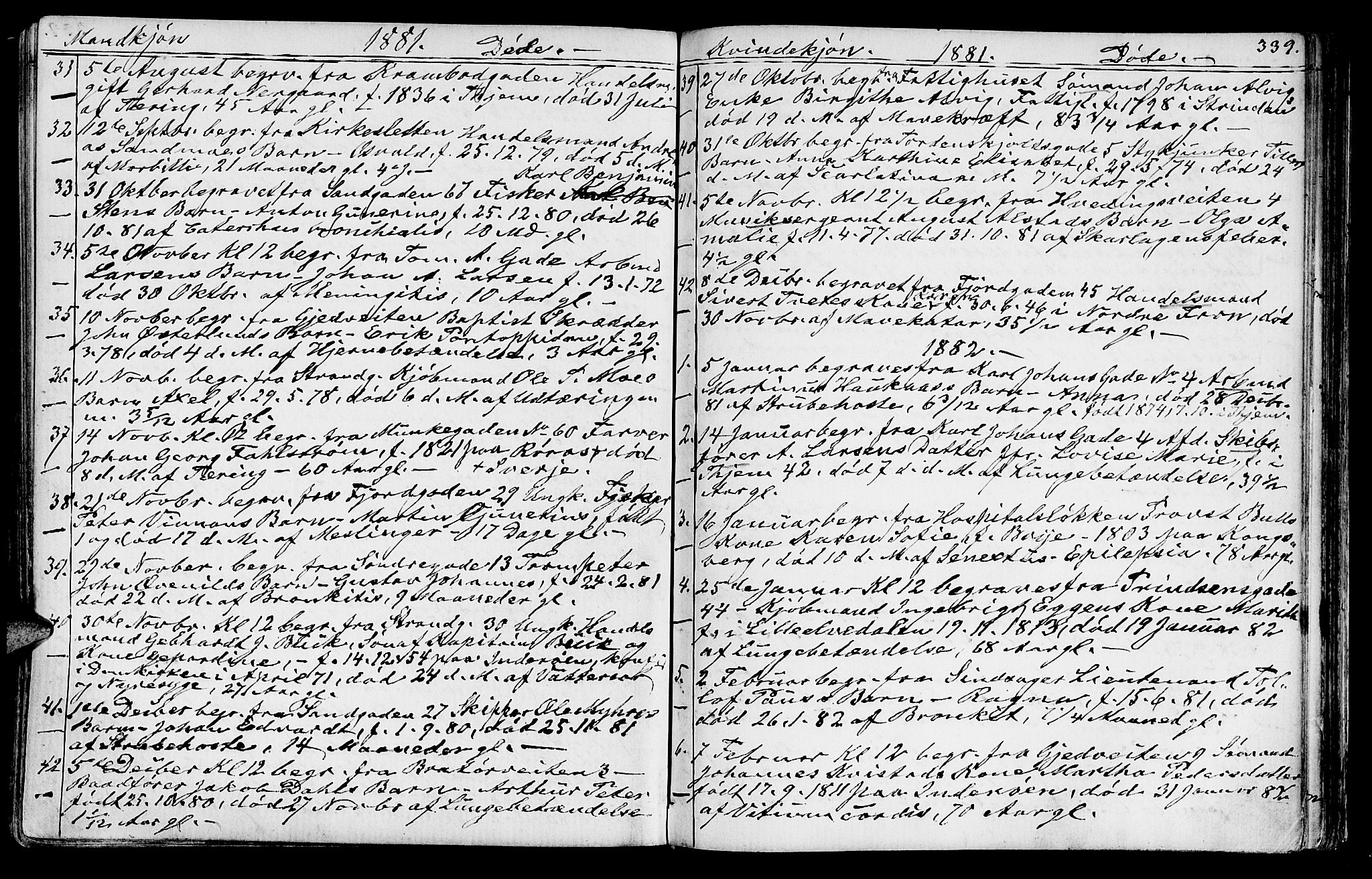 SAT, Ministerialprotokoller, klokkerbøker og fødselsregistre - Sør-Trøndelag, 602/L0142: Klokkerbok nr. 602C10, 1872-1894, s. 339