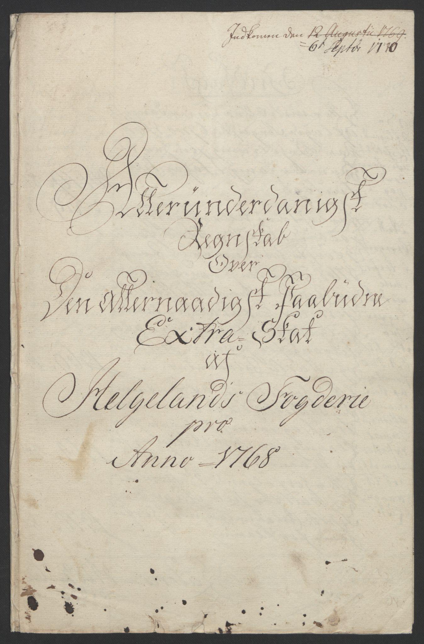 RA, Rentekammeret inntil 1814, Reviderte regnskaper, Fogderegnskap, R65/L4573: Ekstraskatten Helgeland, 1762-1772, s. 167