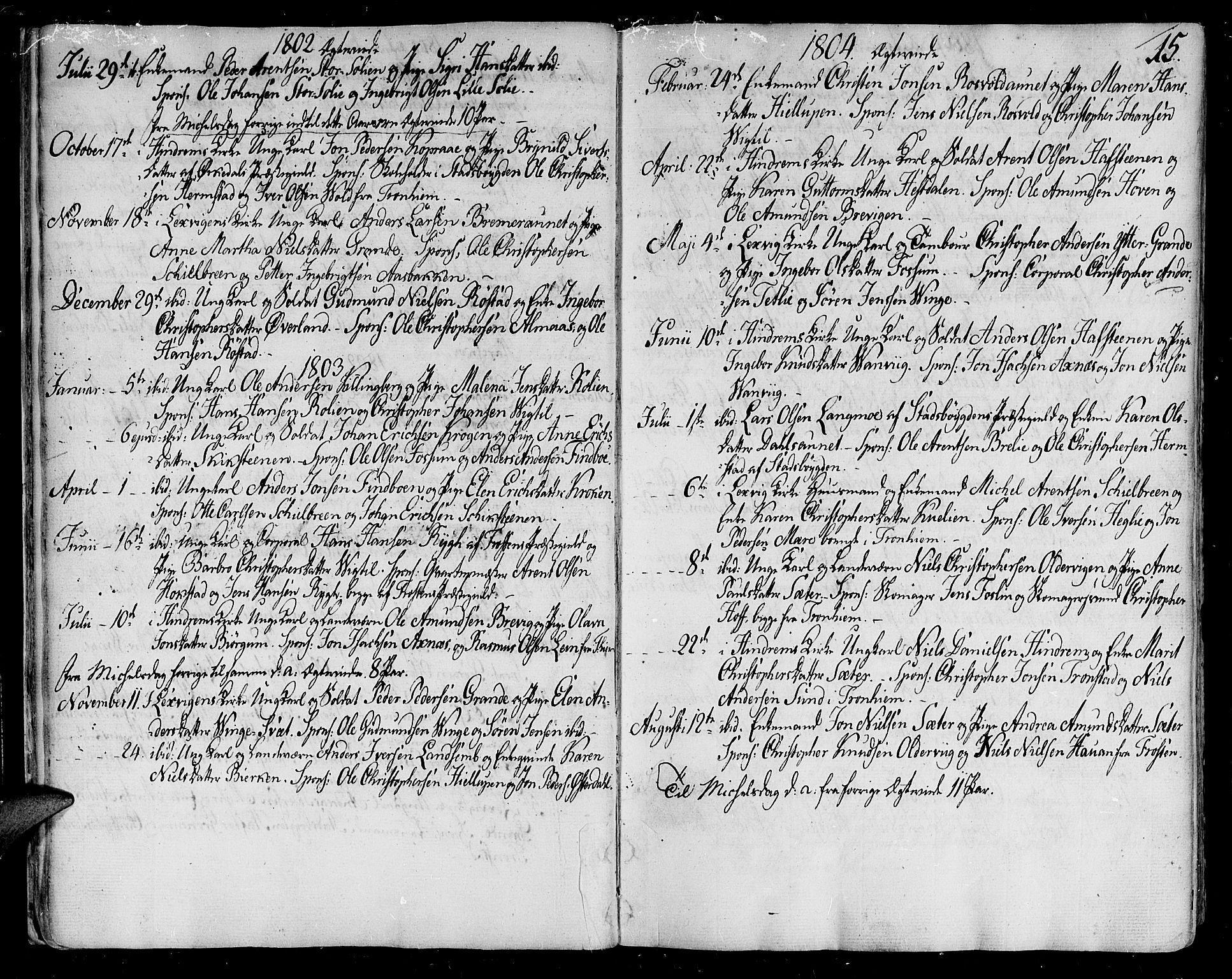 SAT, Ministerialprotokoller, klokkerbøker og fødselsregistre - Nord-Trøndelag, 701/L0004: Ministerialbok nr. 701A04, 1783-1816, s. 15