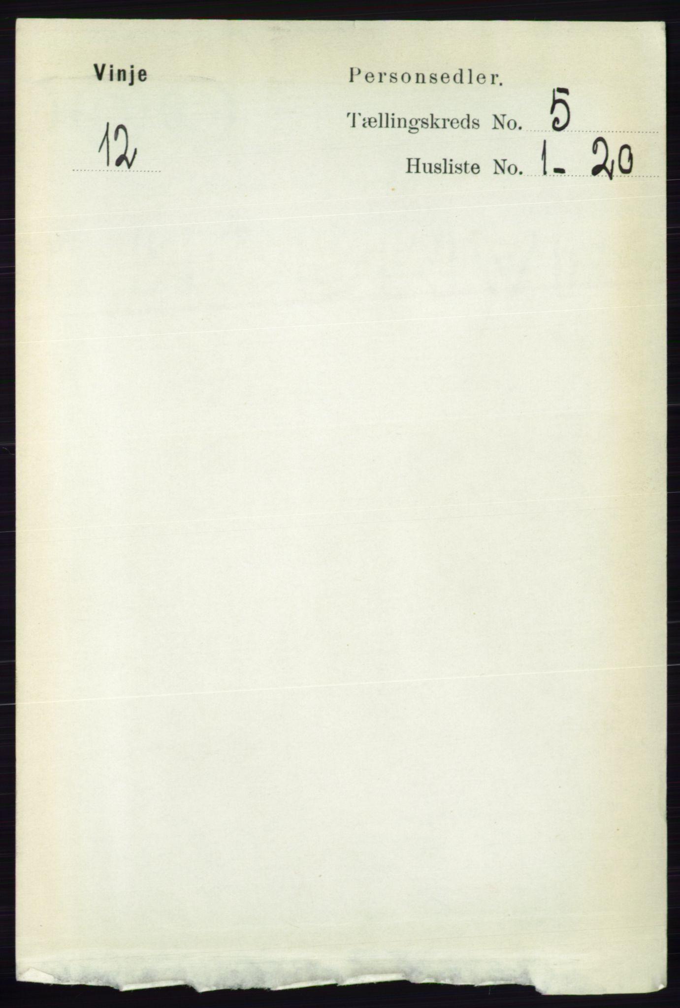 RA, Folketelling 1891 for 0834 Vinje herred, 1891, s. 1047