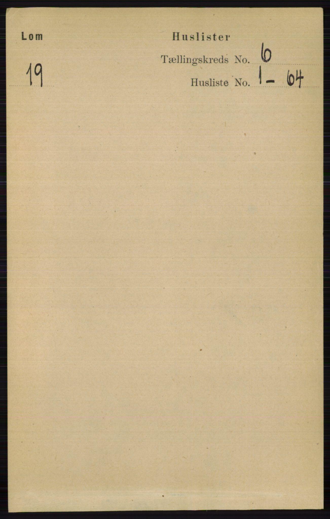 RA, Folketelling 1891 for 0514 Lom herred, 1891, s. 2303
