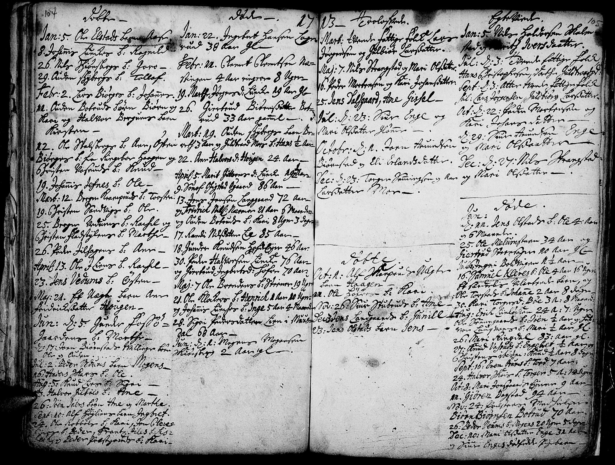 SAH, Øyer prestekontor, Ministerialbok nr. 1, 1671-1727, s. 104-105