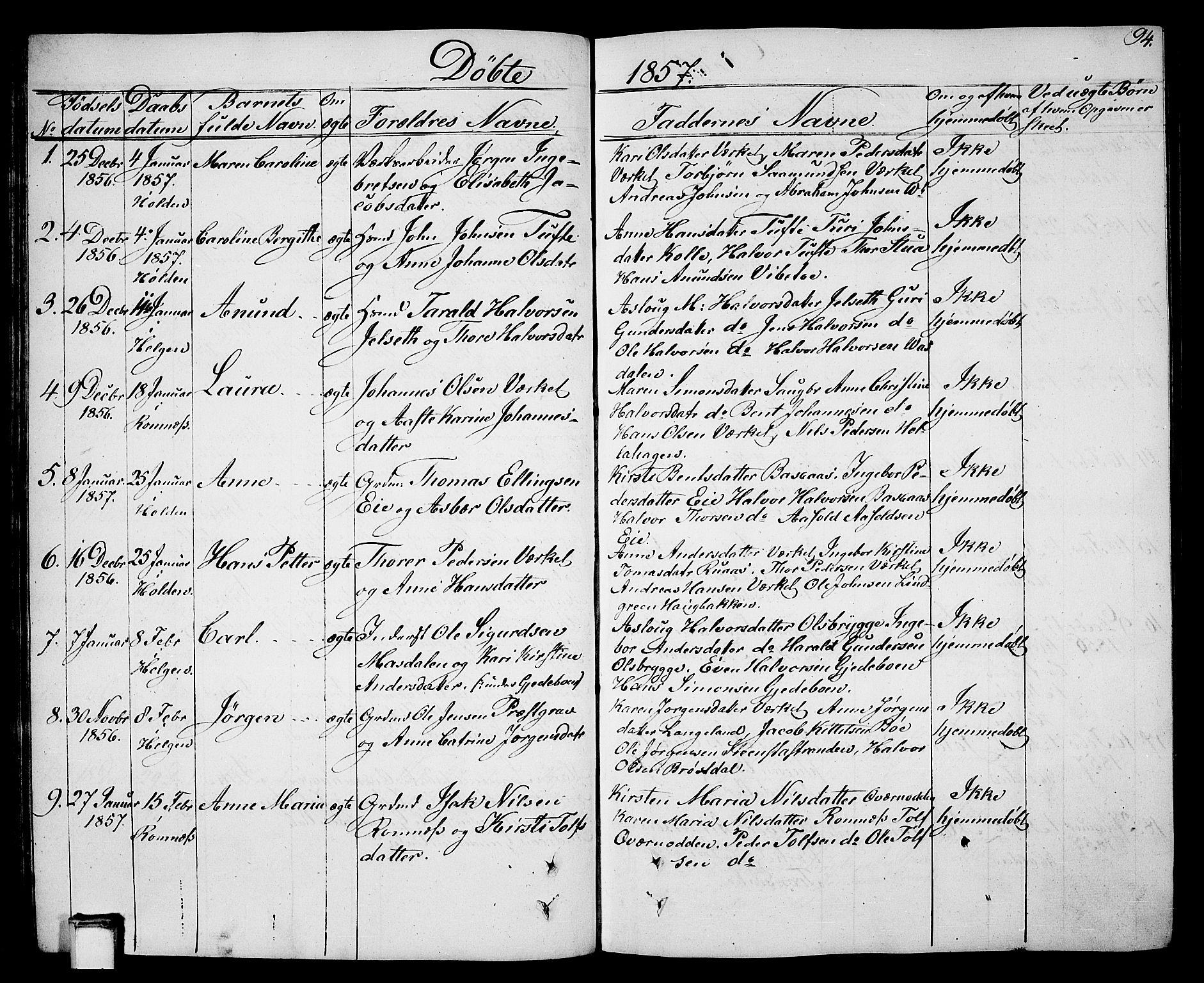 SAKO, Holla kirkebøker, G/Ga/L0003: Klokkerbok nr. I 3, 1849-1866, s. 94