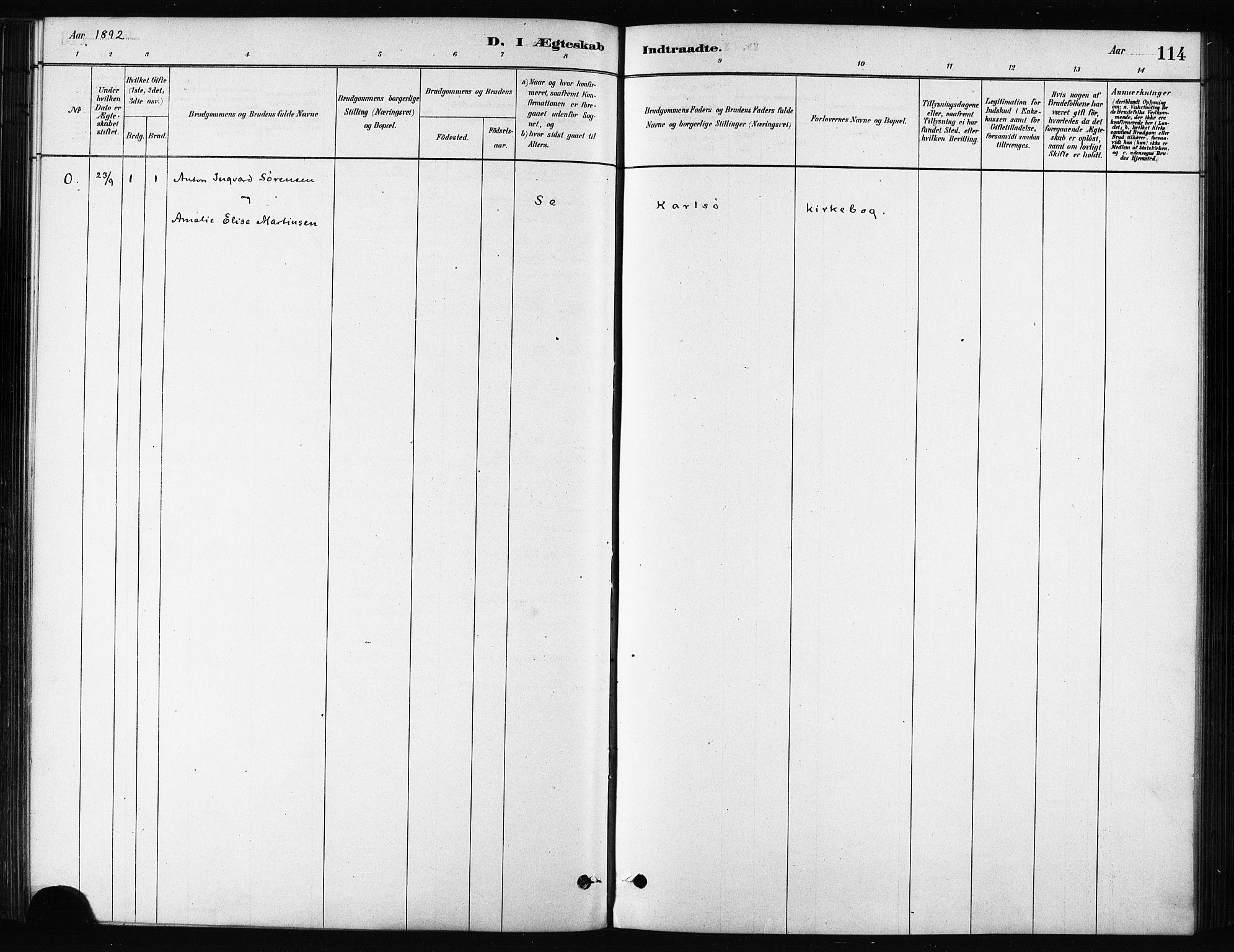 SATØ, Karlsøy sokneprestembete, H/Ha/Haa/L0011kirke: Ministerialbok nr. 11, 1879-1892, s. 114