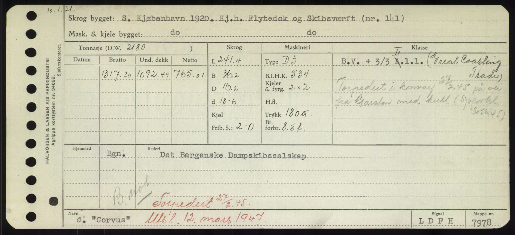 RA, Sjøfartsdirektoratet med forløpere, Skipsmålingen, H/Hd/L0008: Fartøy, C-D, s. 243
